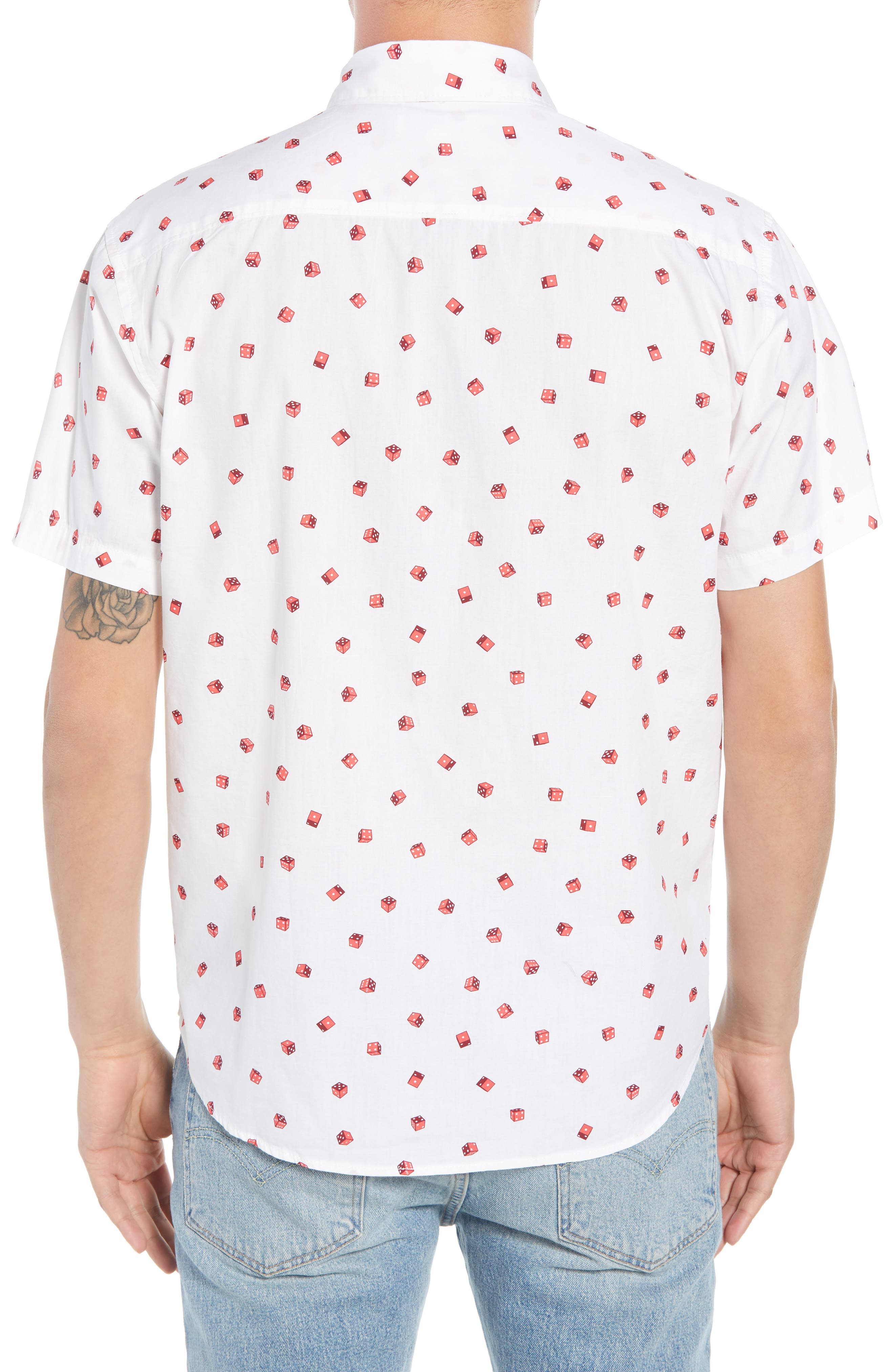 Print Camp Shirt,                             Alternate thumbnail 2, color,                             White / Red Rumba No Dice