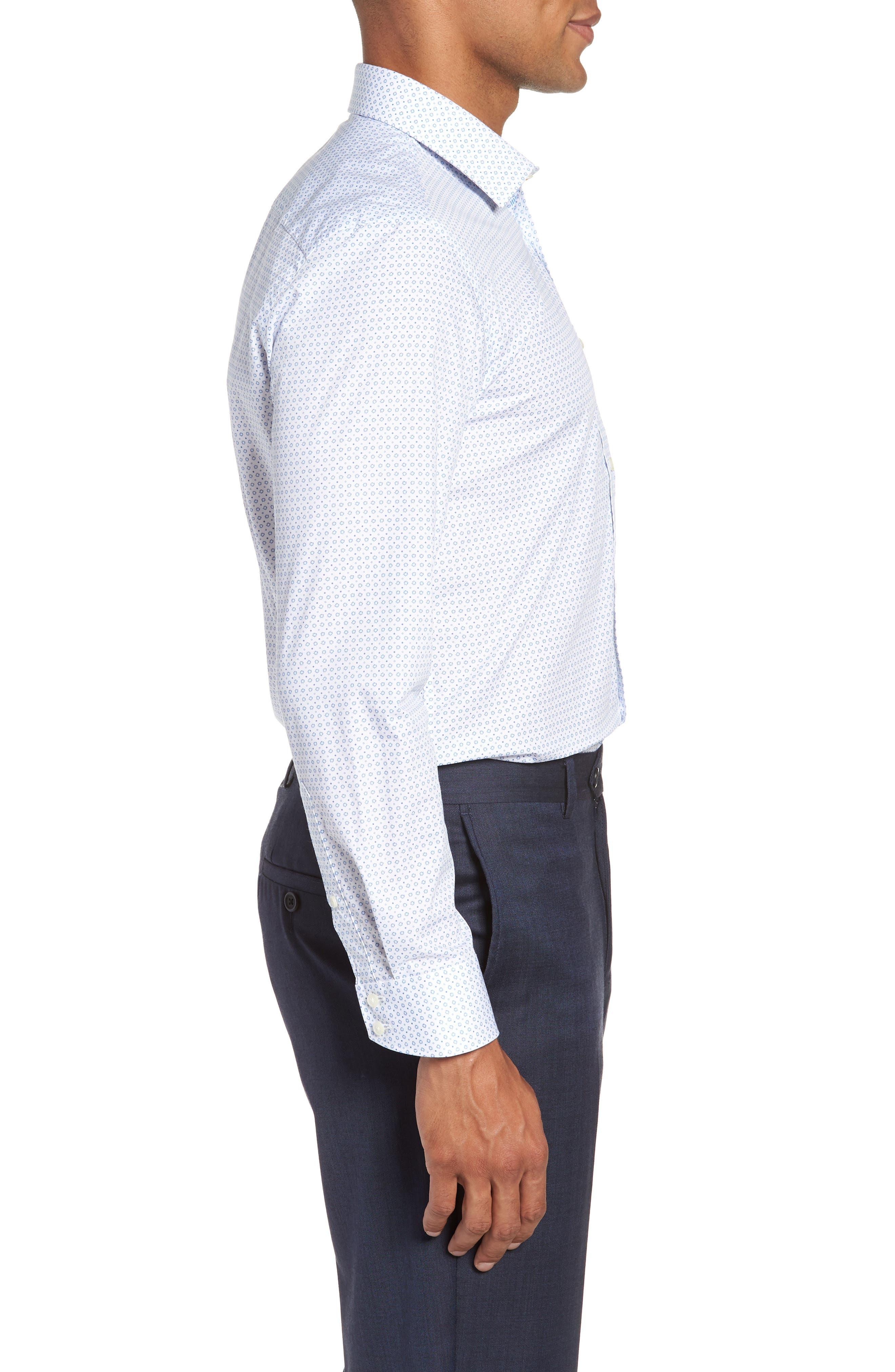 Trim Fit Geometric Dress Shirt,                             Alternate thumbnail 4, color,                             Blue