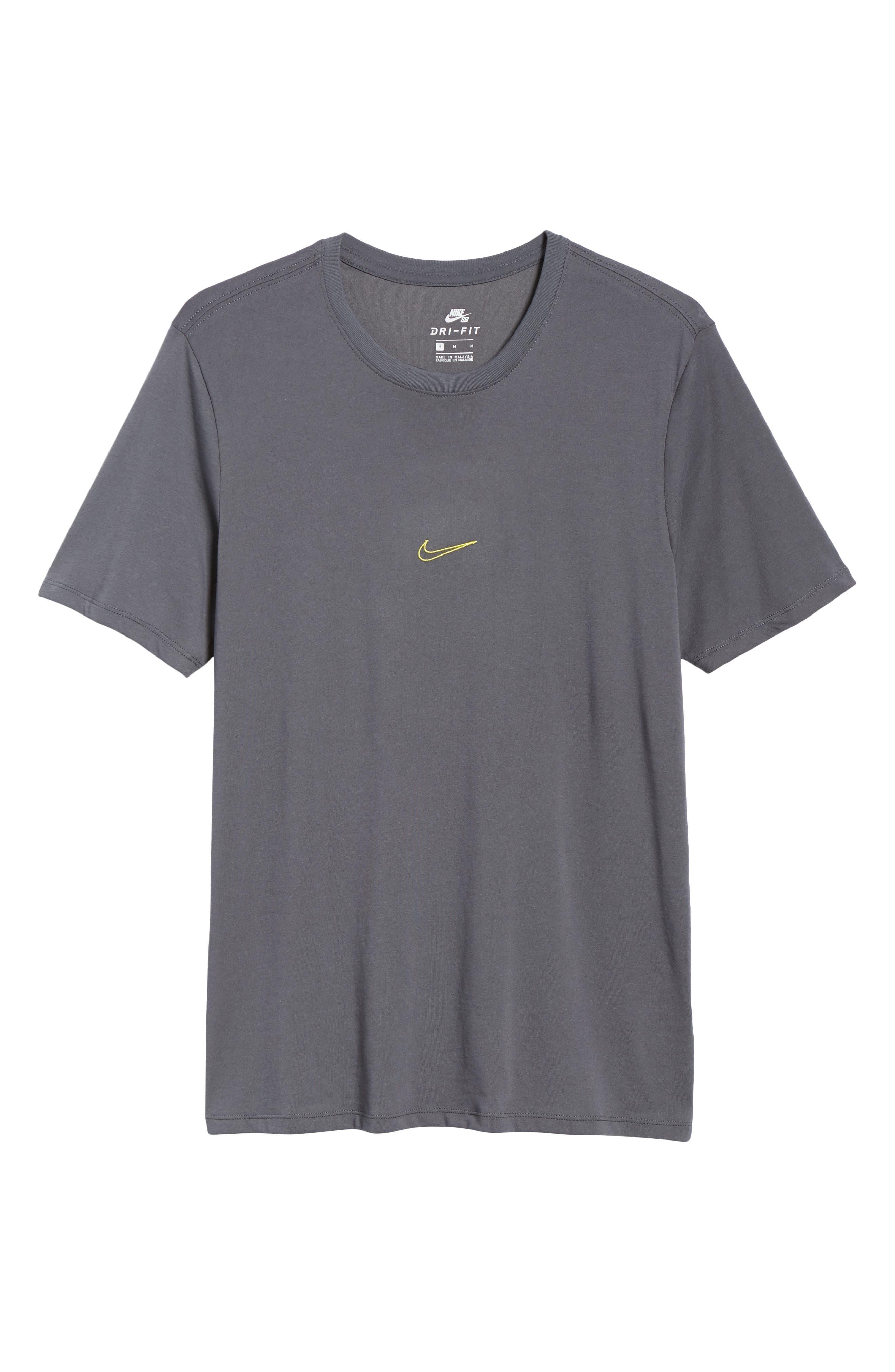 SB Dry Tropical Graphic T-Shirt,                             Alternate thumbnail 6, color,                             Dark Grey/ Dynamic Yellow
