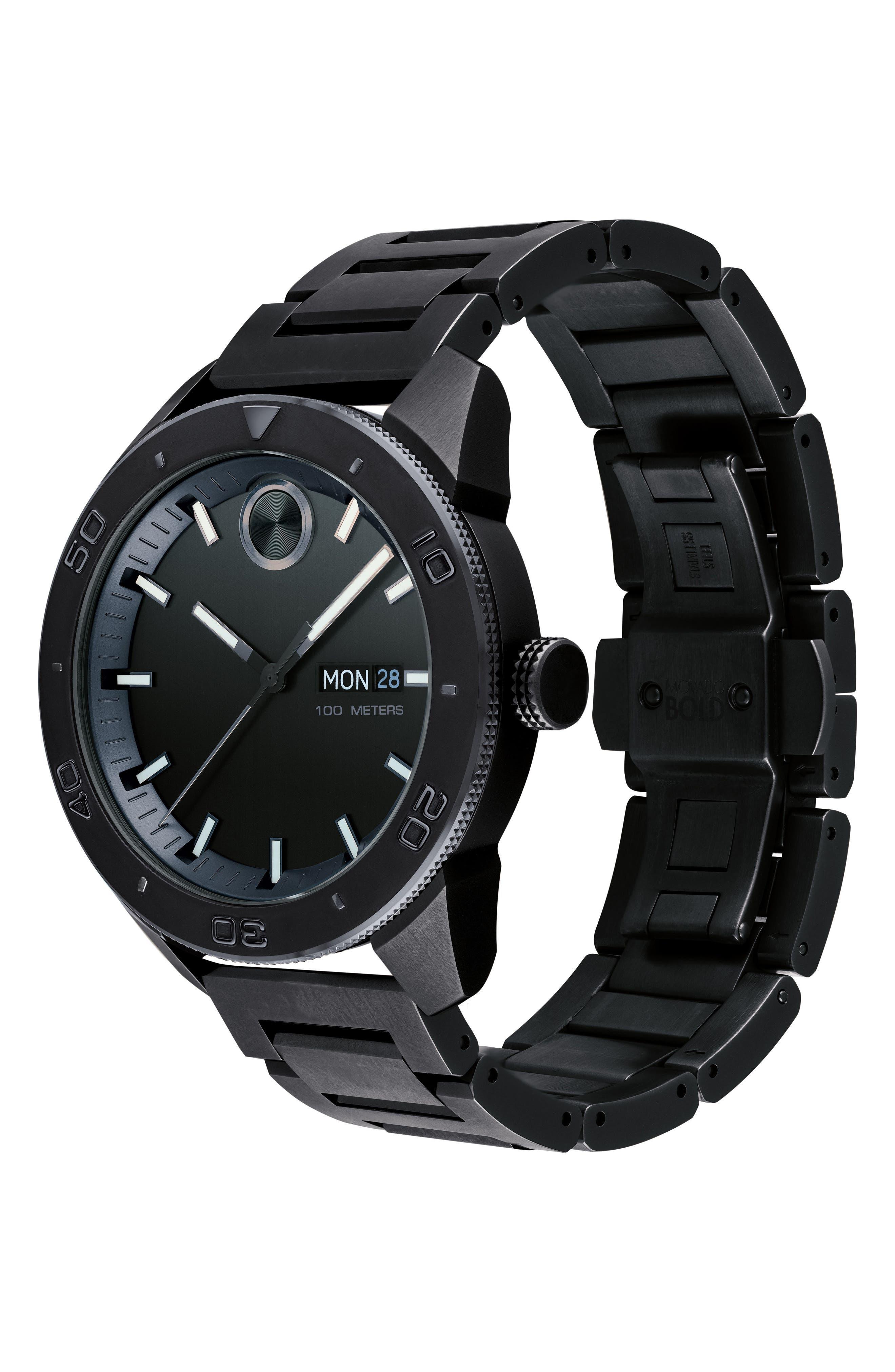 Bold Bracelet Watch, 43.5mm,                             Alternate thumbnail 3, color,                             Black