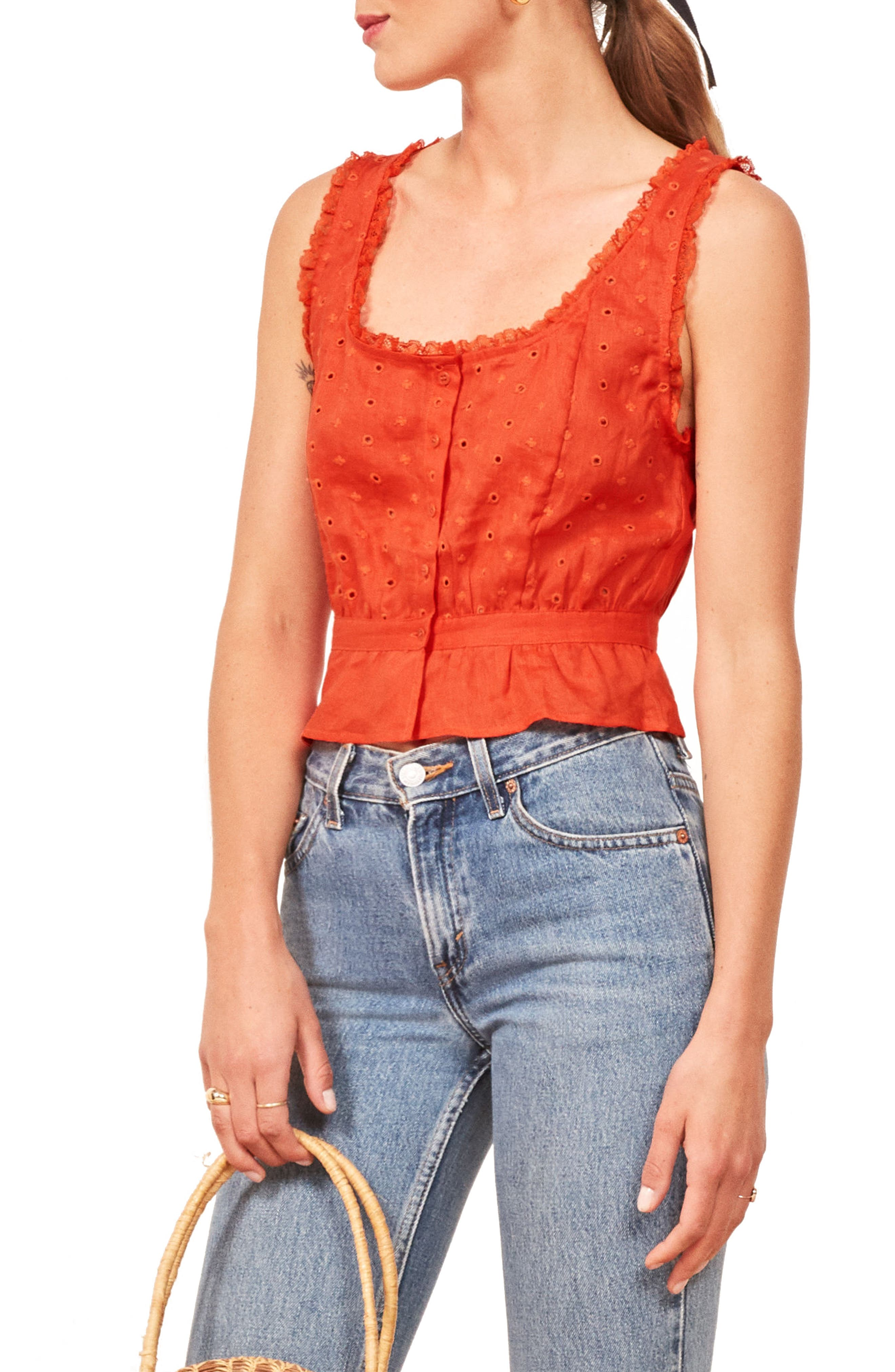 Luisa Eyelet Linen Top by Reformation