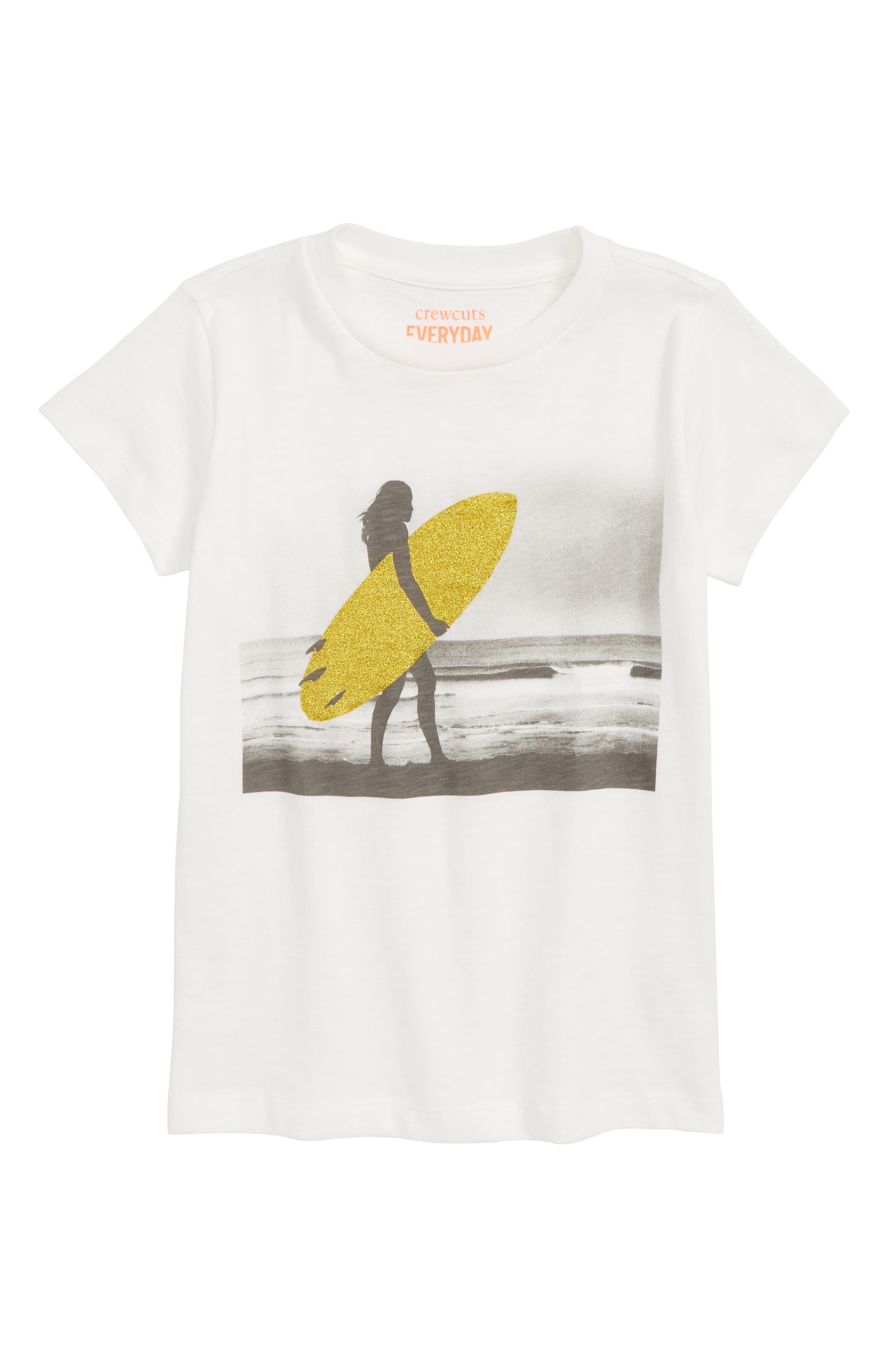 Sparkly Surfer Graphic Tee,                         Main,                         color, Ivory
