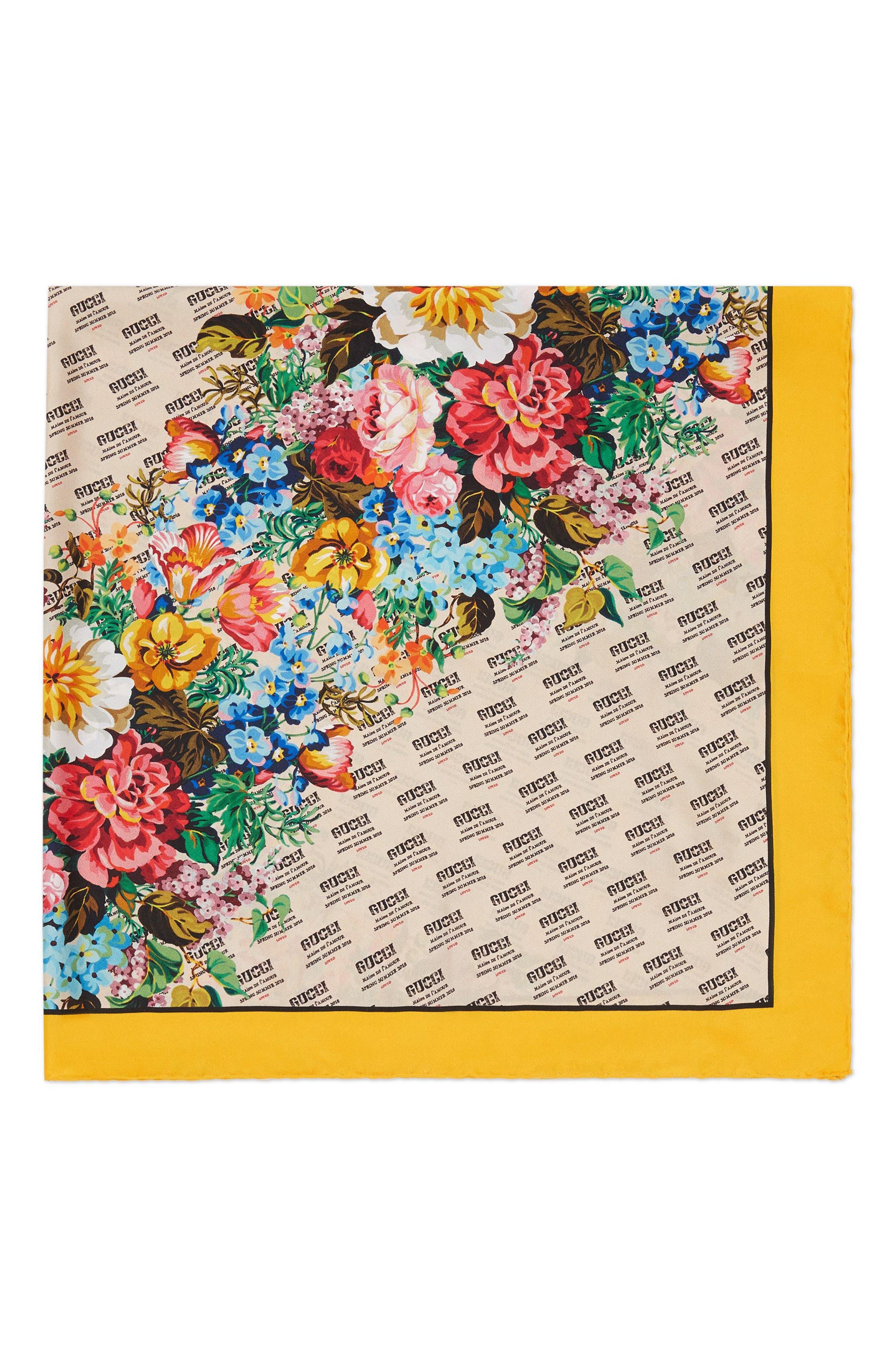 Night Flower Stripes Foulard Silk Twill Scarf,                             Alternate thumbnail 4, color,                             Ivory/ Yellow