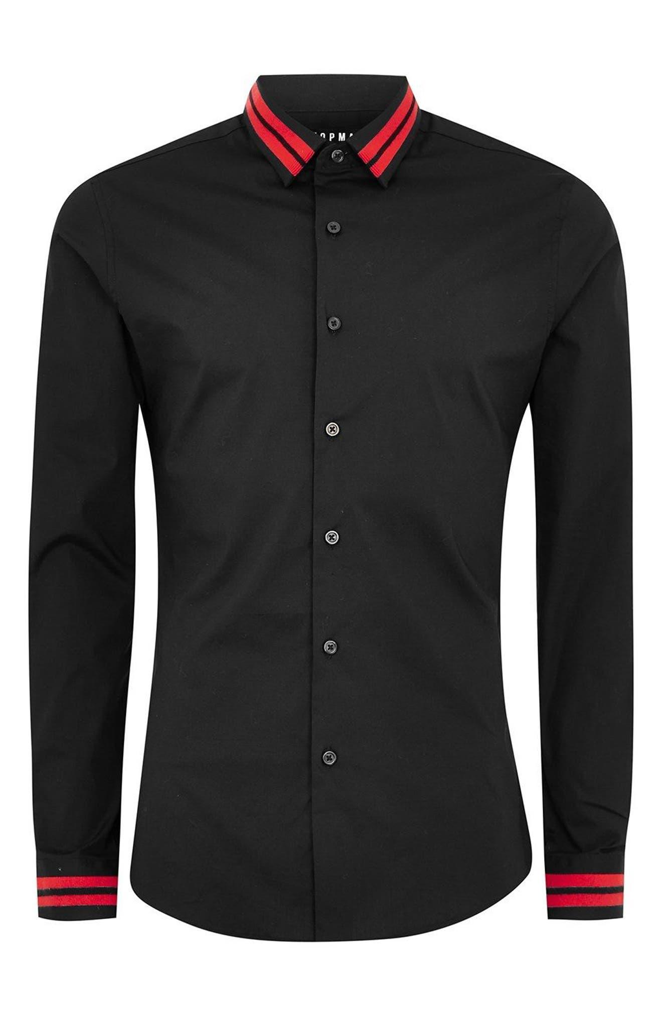 Muscle Fit Stripe Collar Shirt,                             Alternate thumbnail 4, color,                             Black Multi