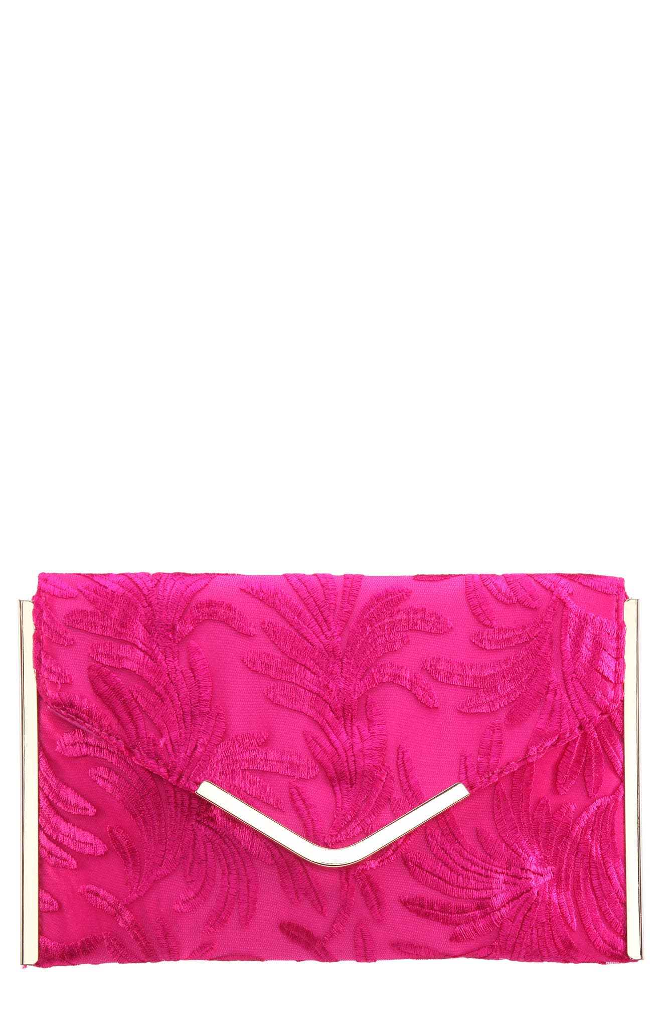 EMBROIDERY ENVELOPE CLUTCH BAG - PINK