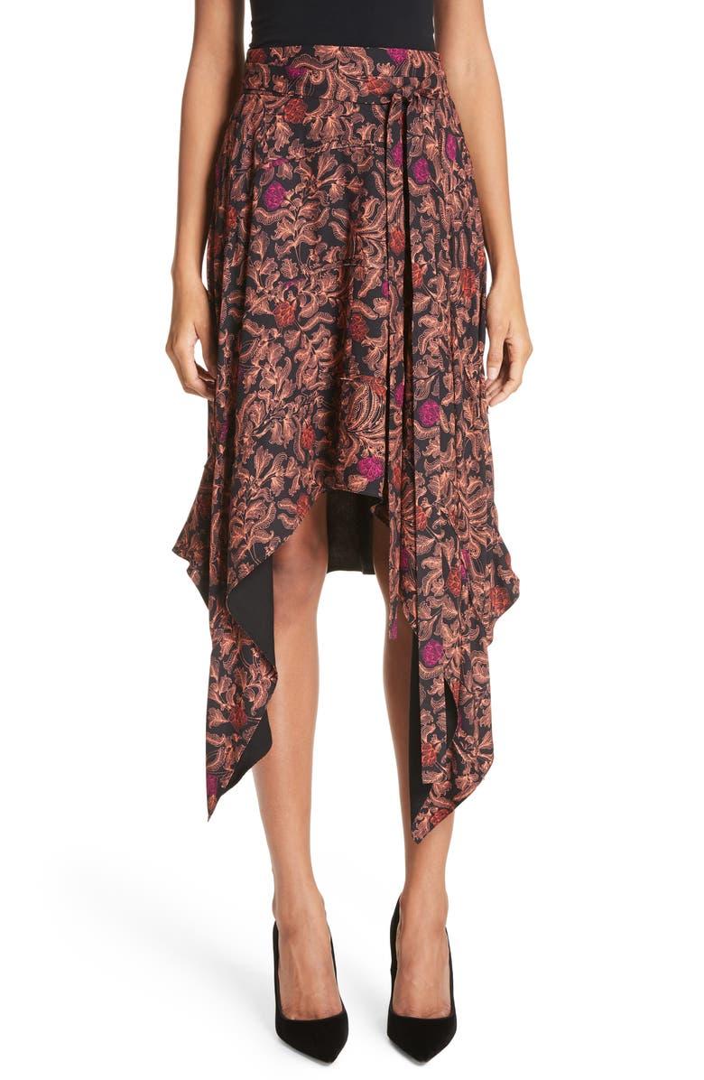 Floral Print Sharkbite Hem Skirt