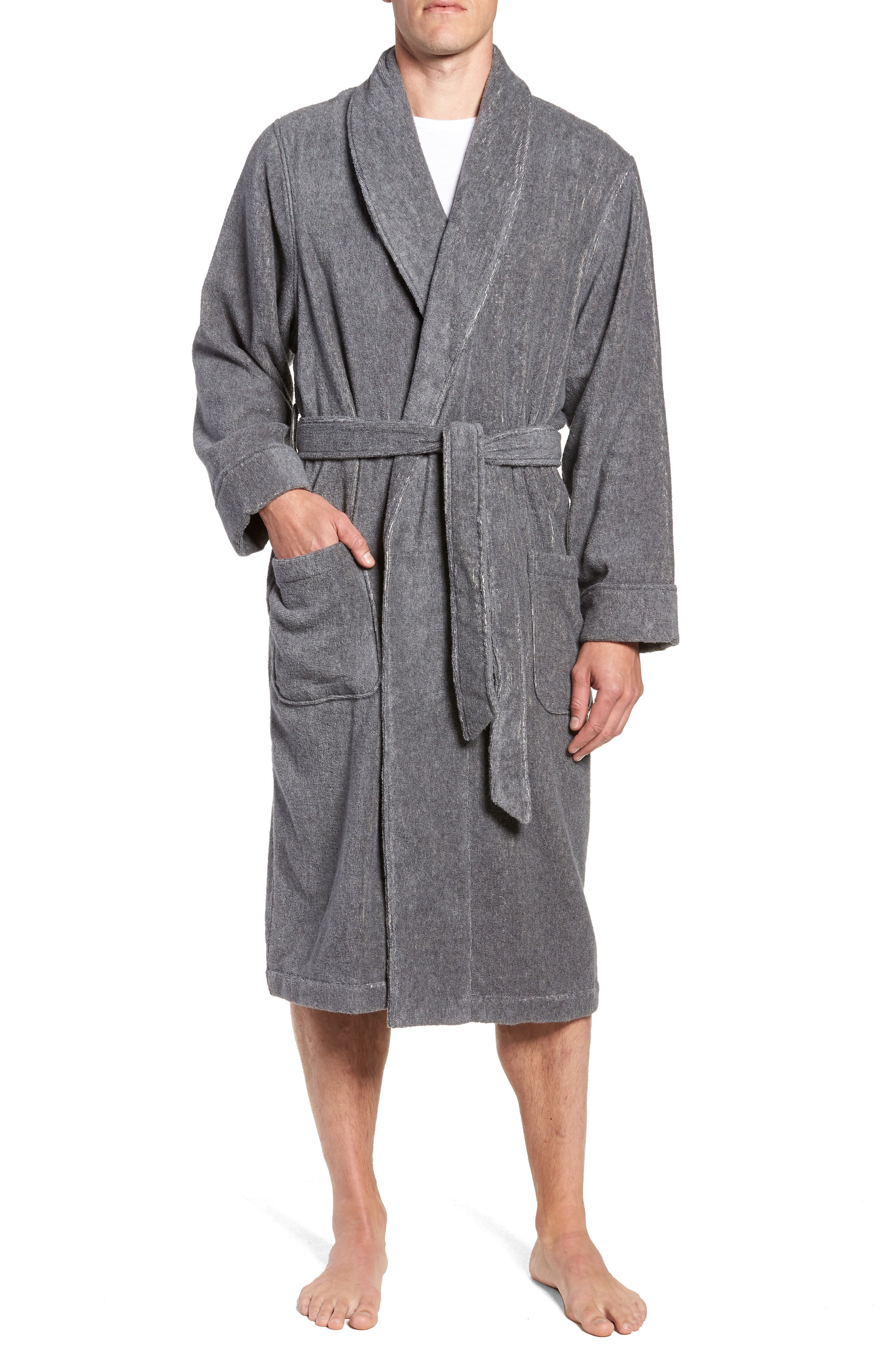 Hydro Cotton Terry Robe,                             Main thumbnail 1, color,                             Charcoal Heather
