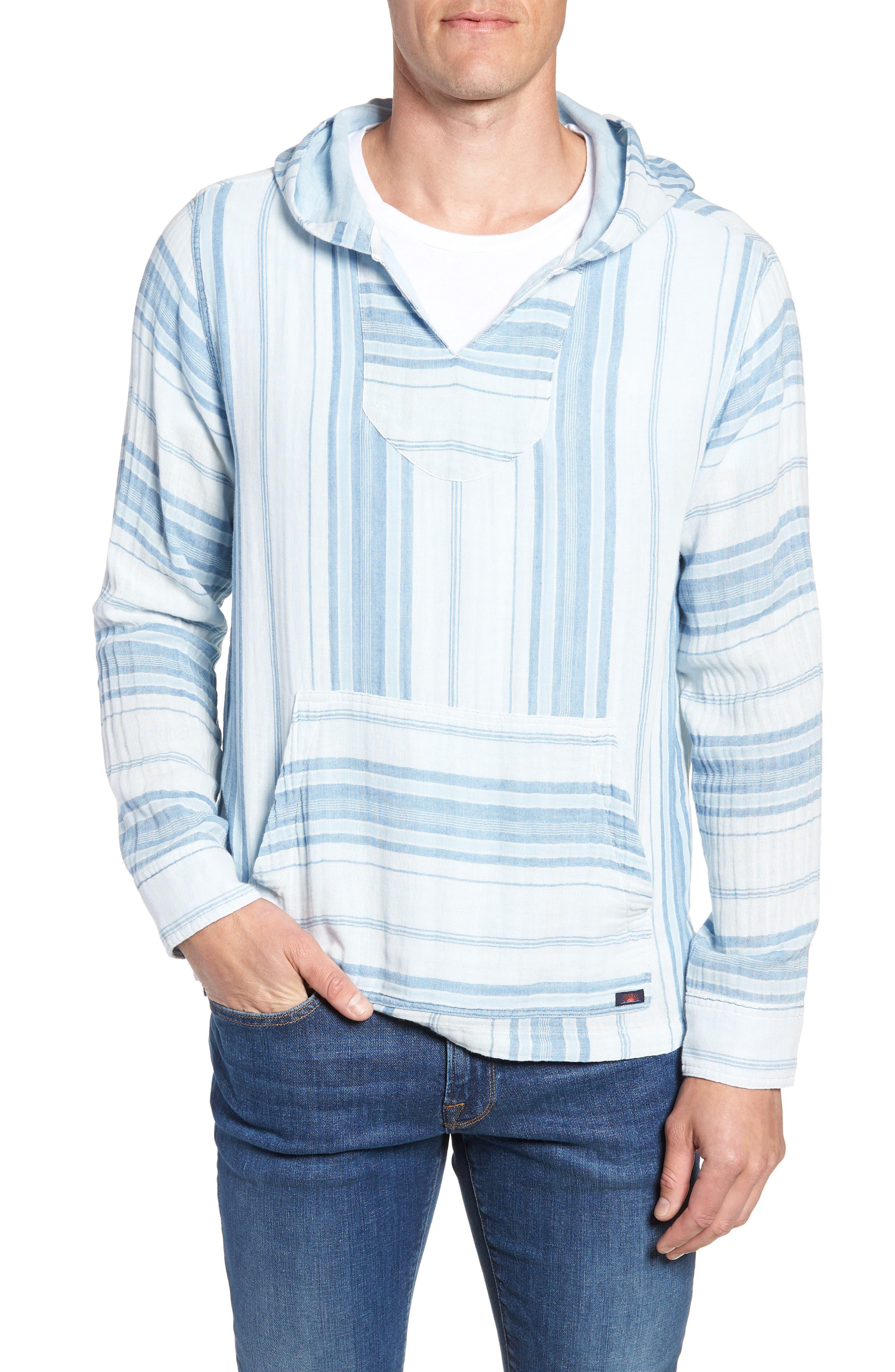 Baja Double Cloth Poncho,                         Main,                         color, Light Indigo Serape