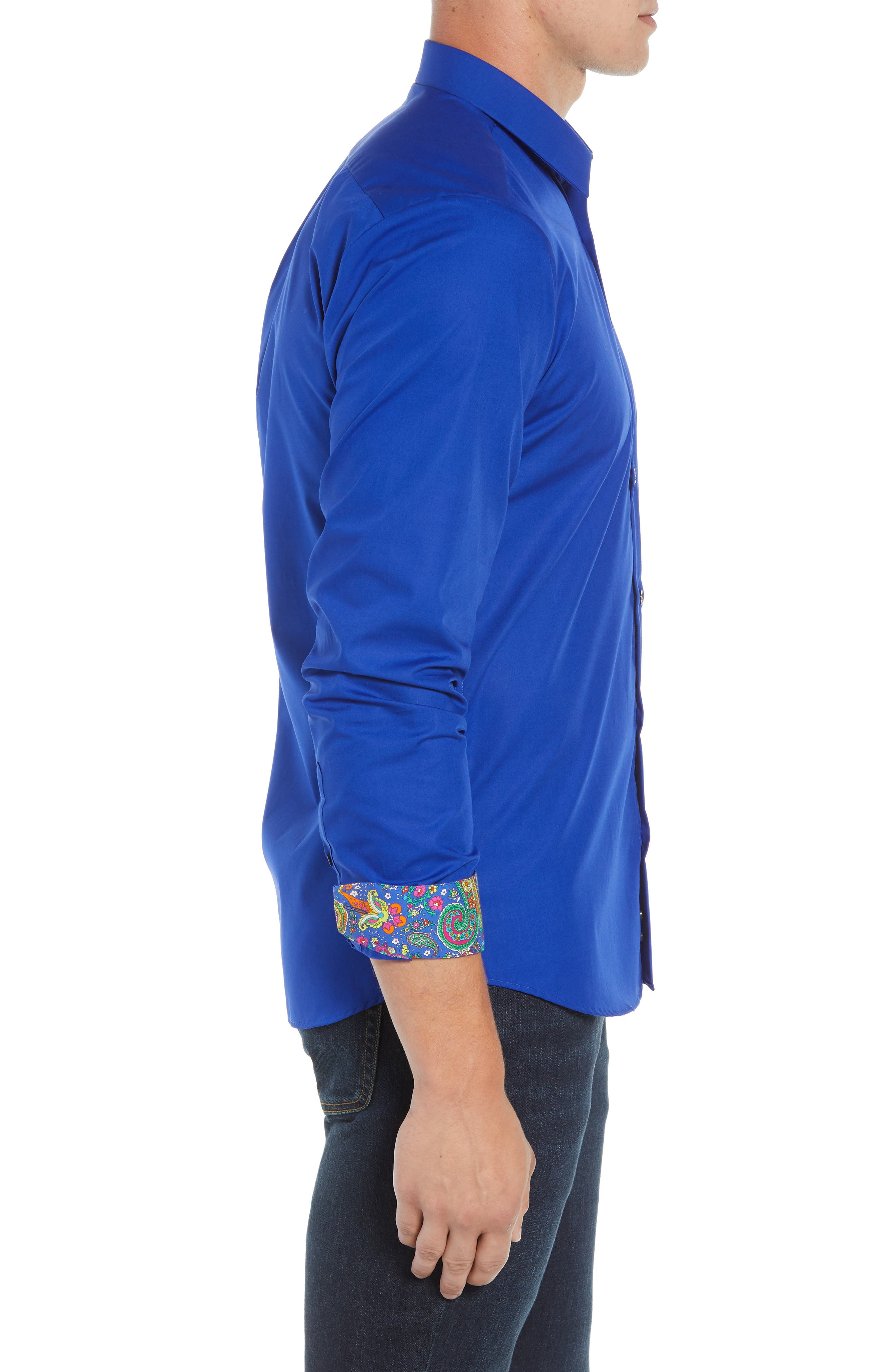 Trim Fit Sport Shirt,                             Alternate thumbnail 4, color,                             Blue