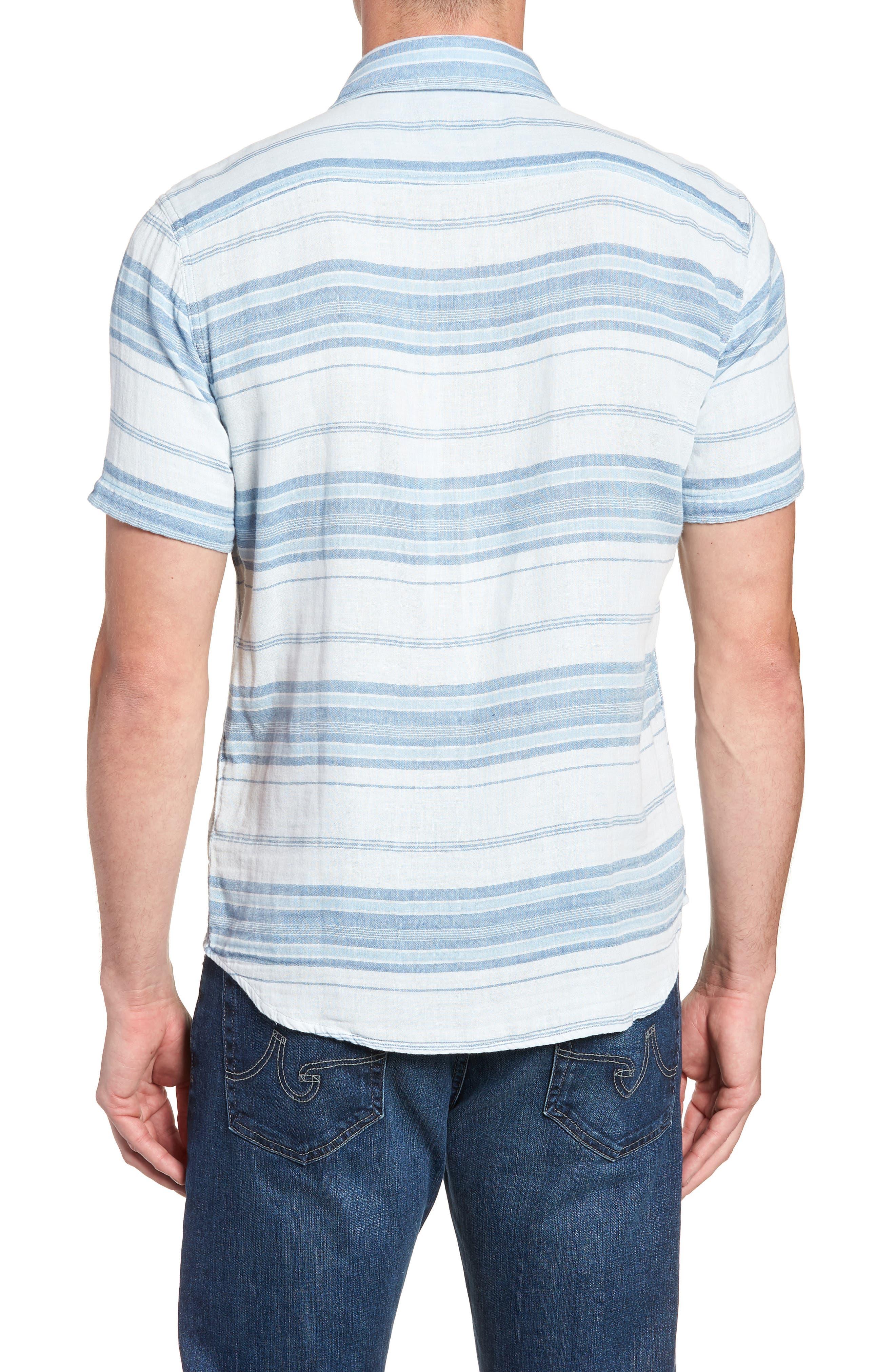Ventura Double Cloth Short Sleeve Shirt,                             Alternate thumbnail 3, color,                             Light Indigo Serape