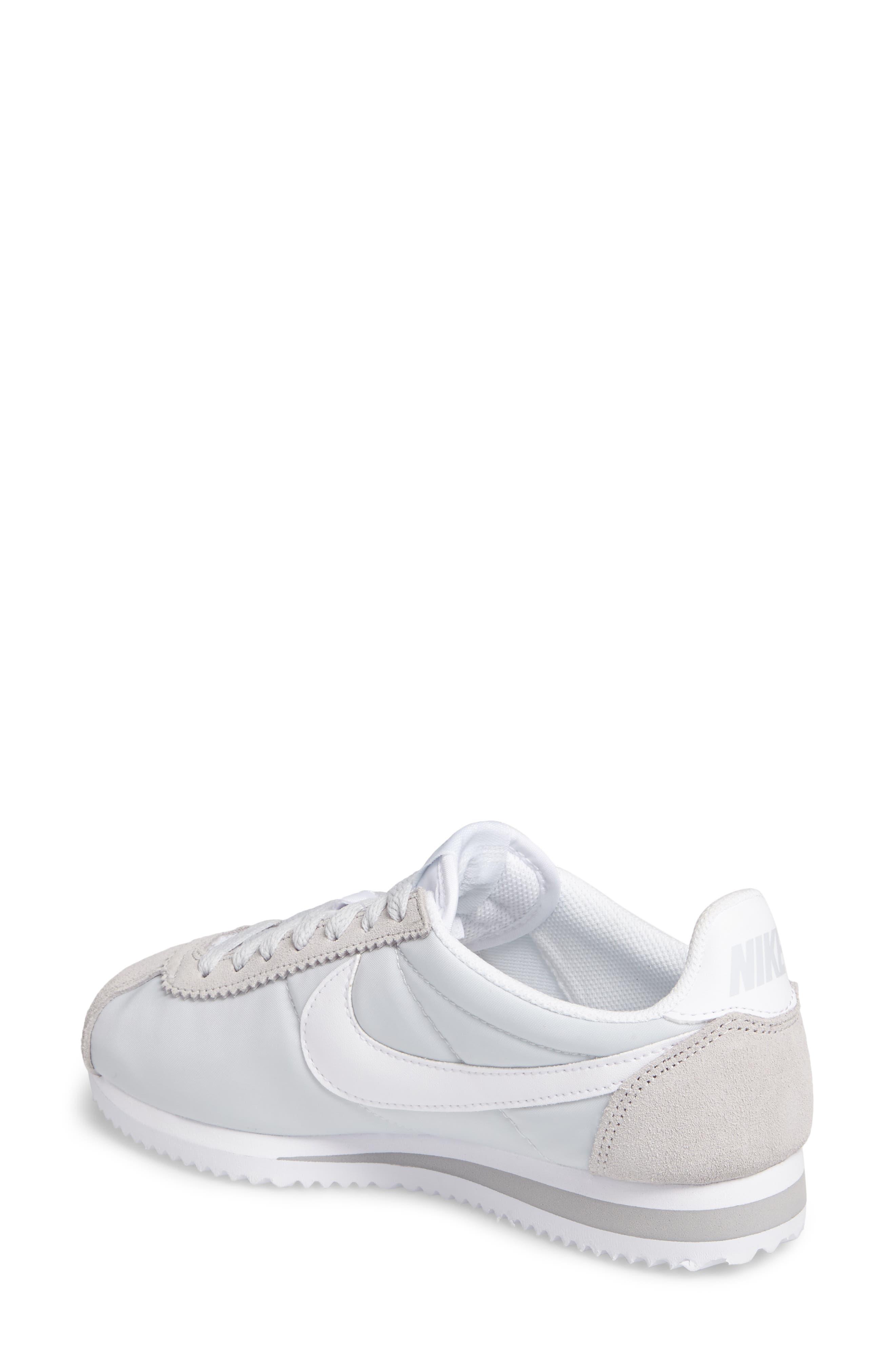 'Classic Cortez' Sneaker,                             Alternate thumbnail 2, color,                             Pure Platinum/ White