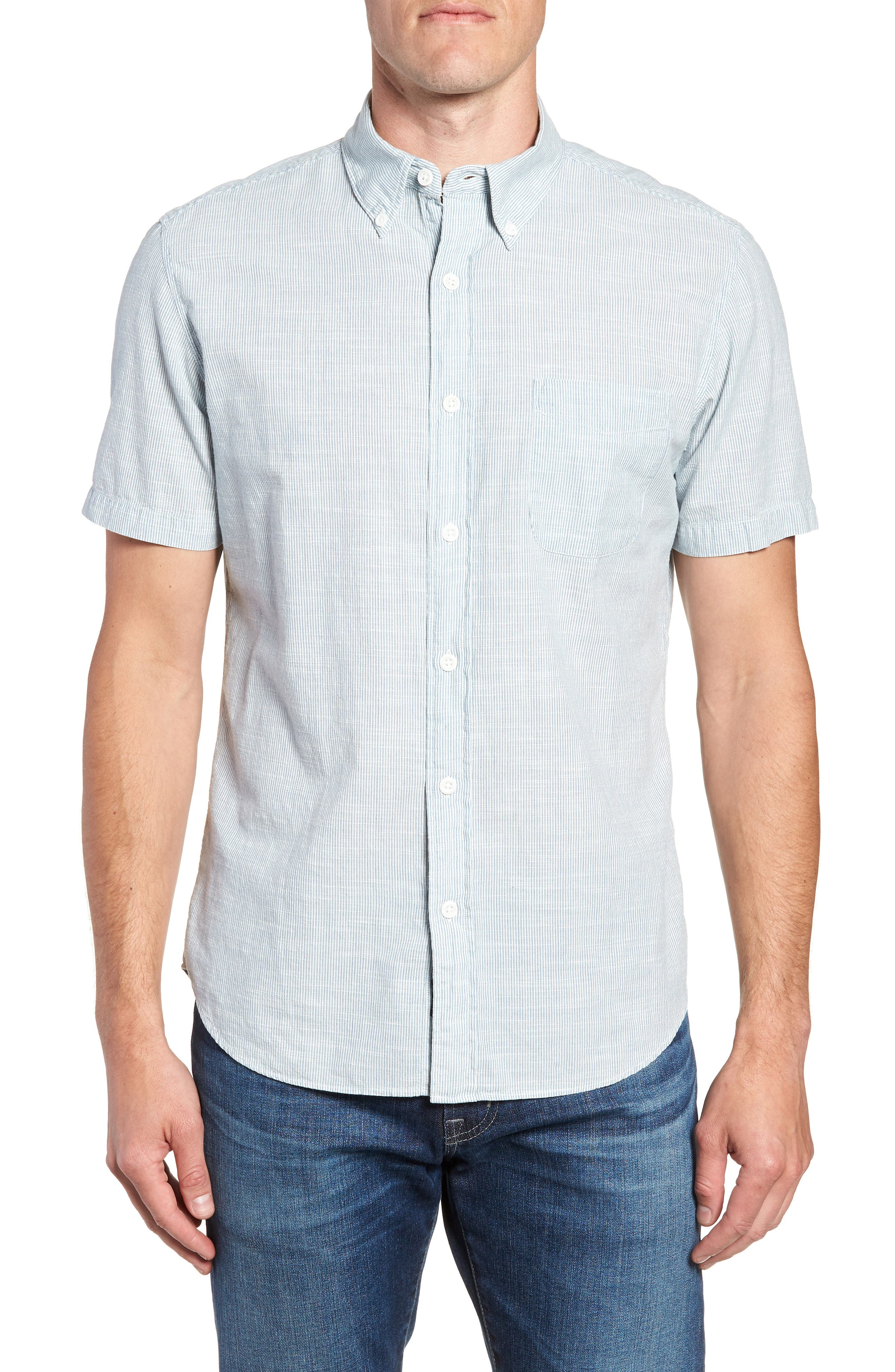Pacific Pinstripe Sport Shirt,                         Main,                         color, Summer White Stripe