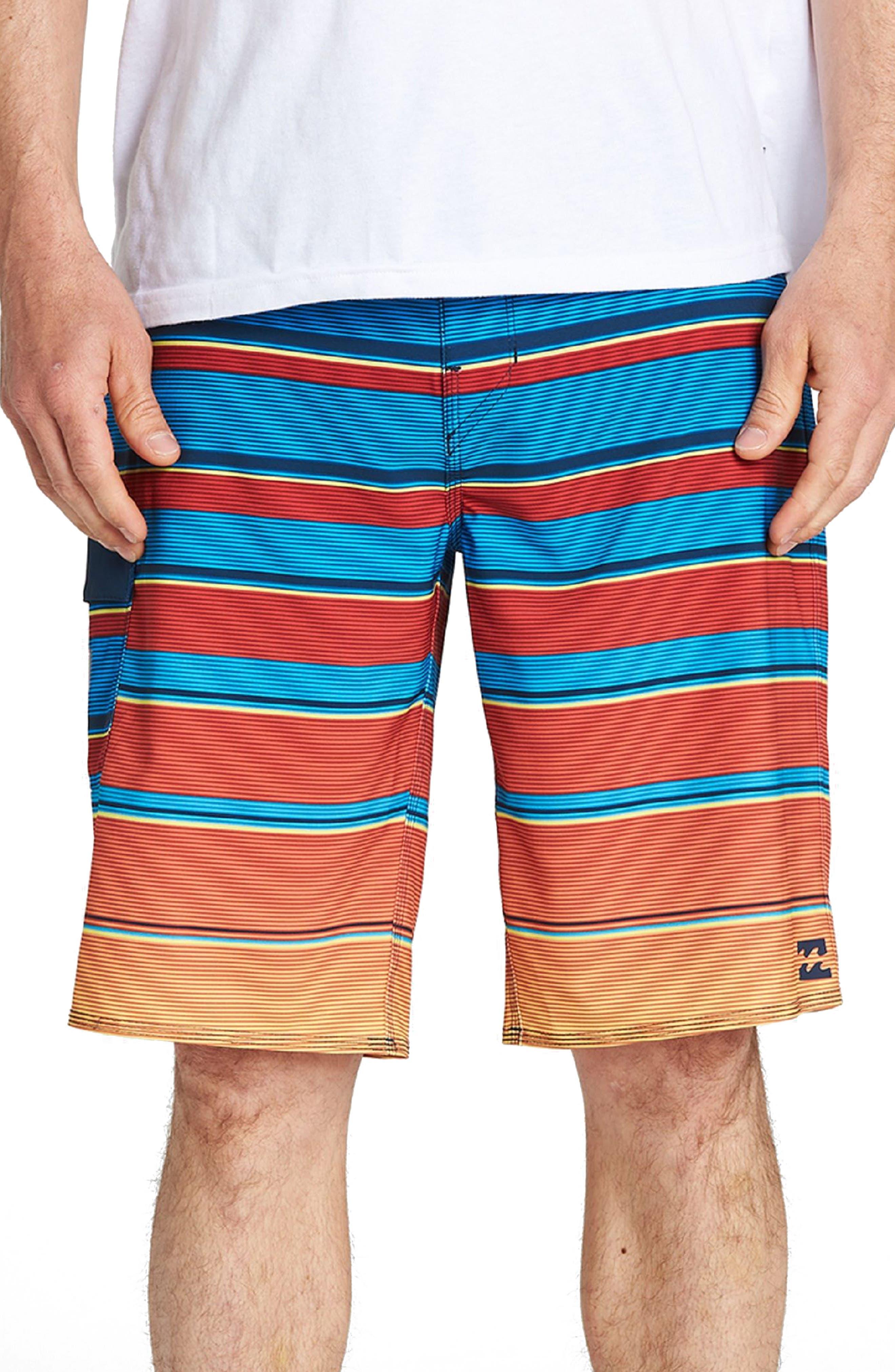 All Day X Stripe Board Shorts,                             Main thumbnail 1, color,                             Blue