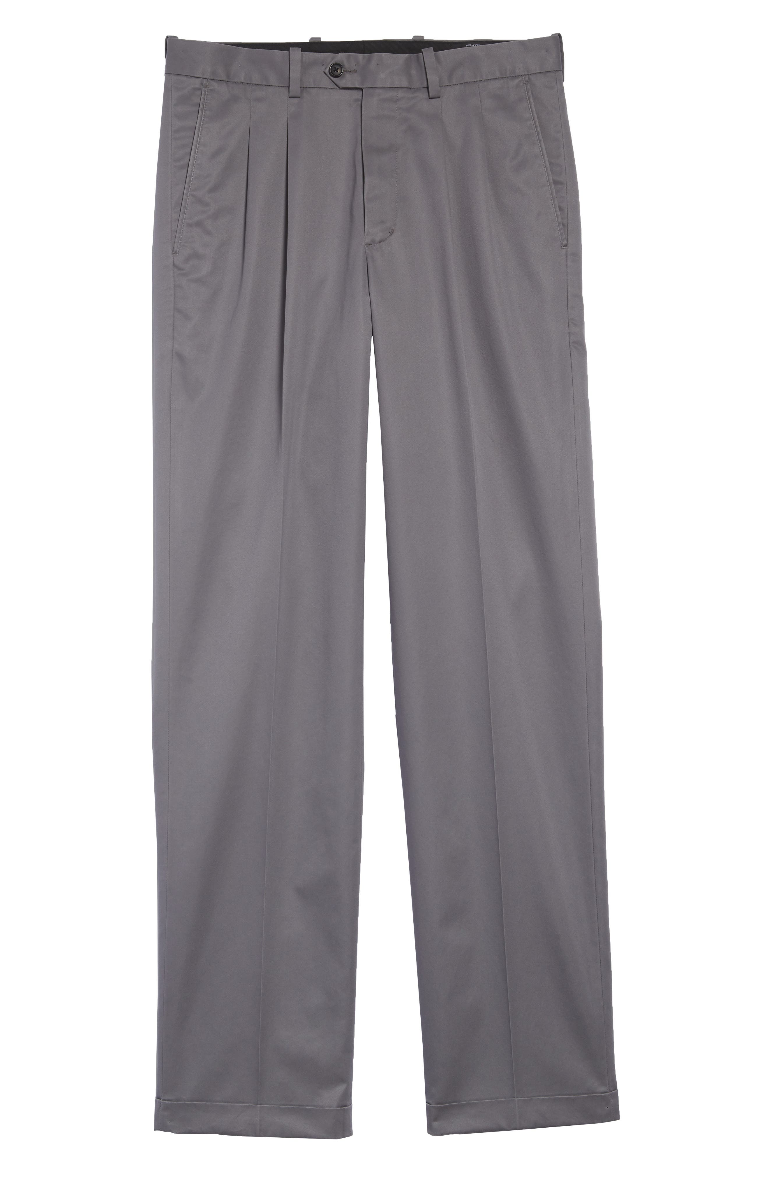 Classic Smartcare<sup>™</sup> Supima<sup>®</sup> Cotton Pleated Trousers,                             Alternate thumbnail 6, color,                             Grey Shade