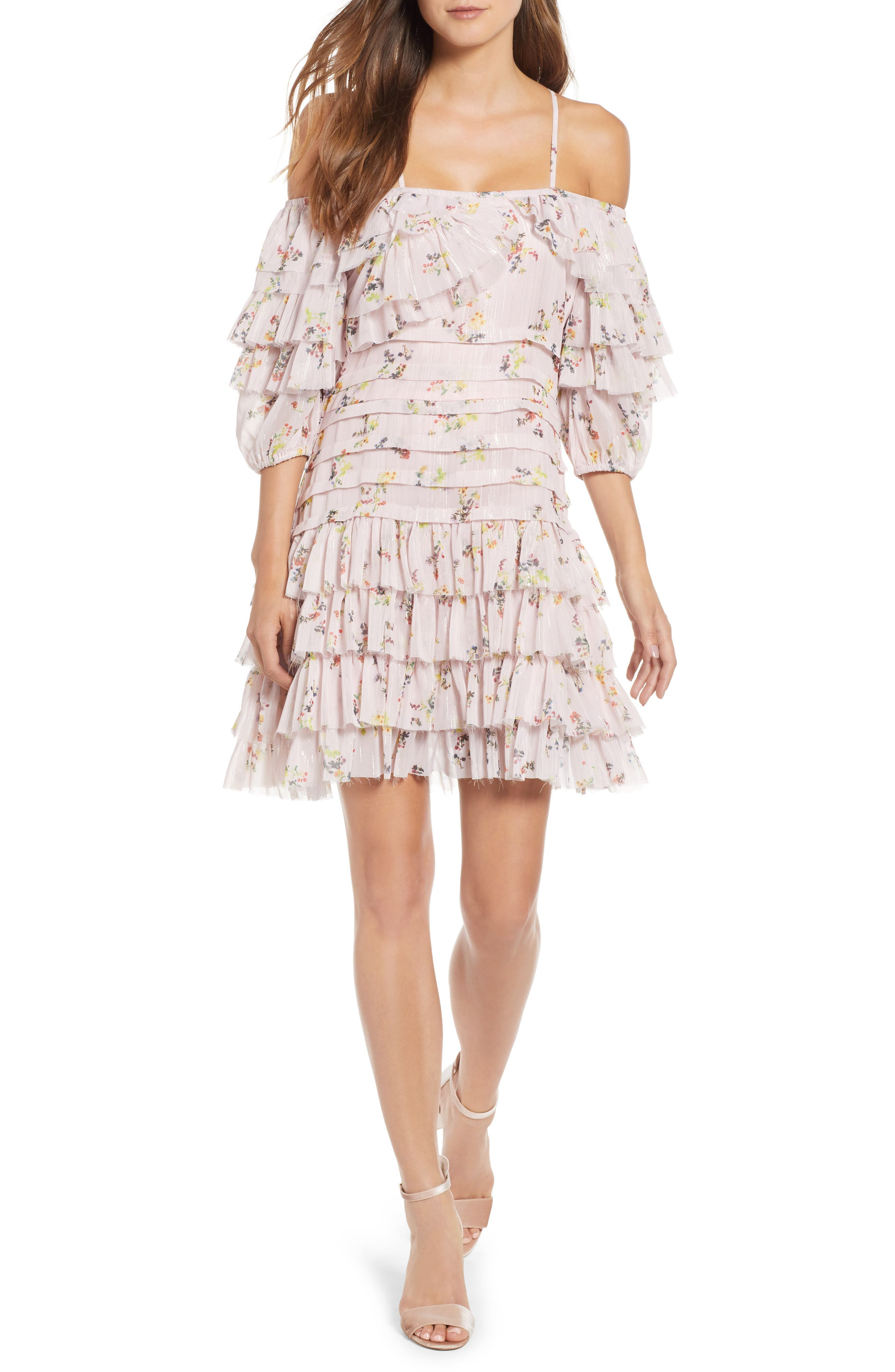 Mina Ruffled Cold Shoulder Dress,                             Main thumbnail 1, color,                             Multi