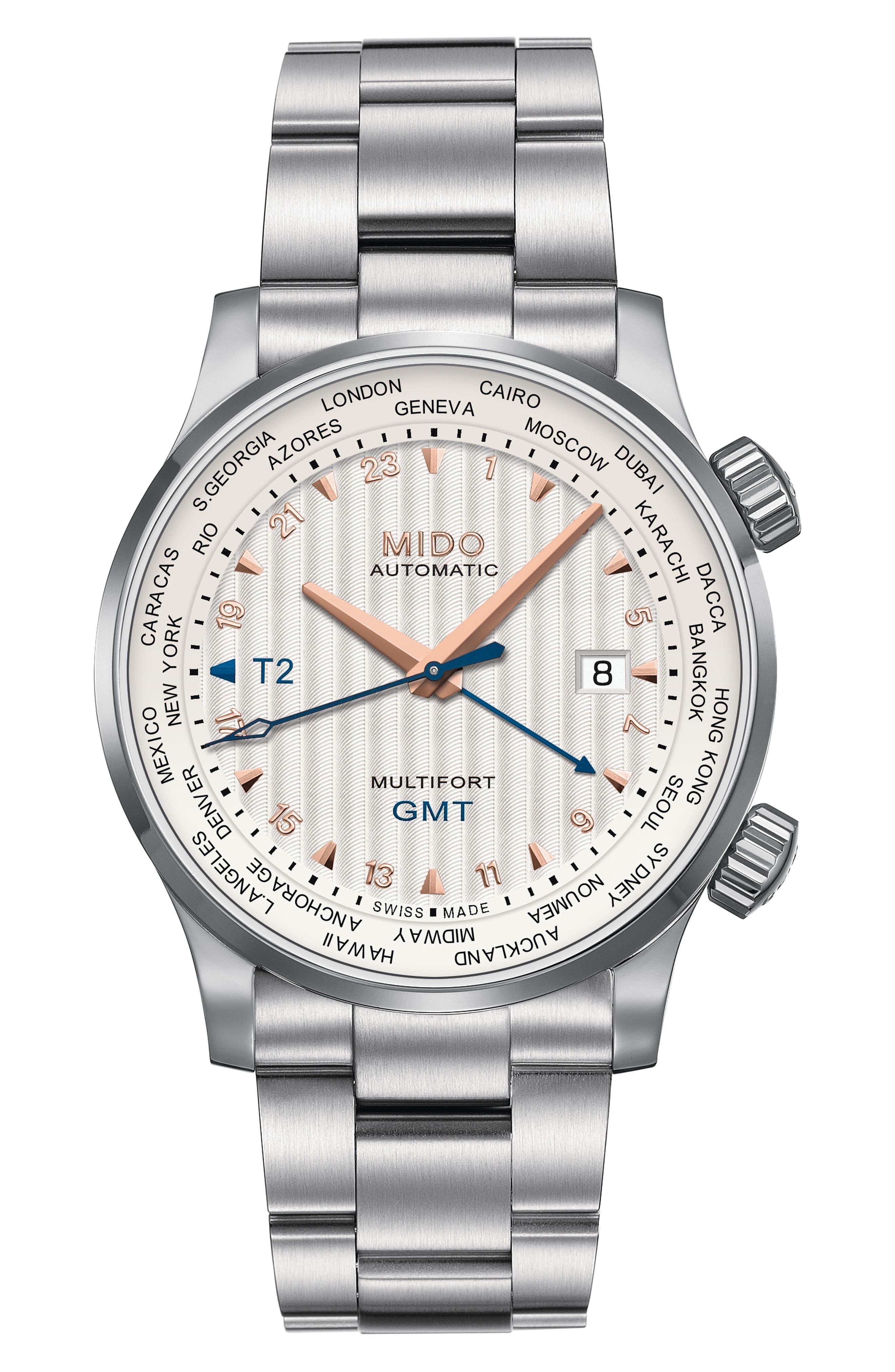 Multifort Automatic Bracelet Watch,                         Main,                         color, Silver