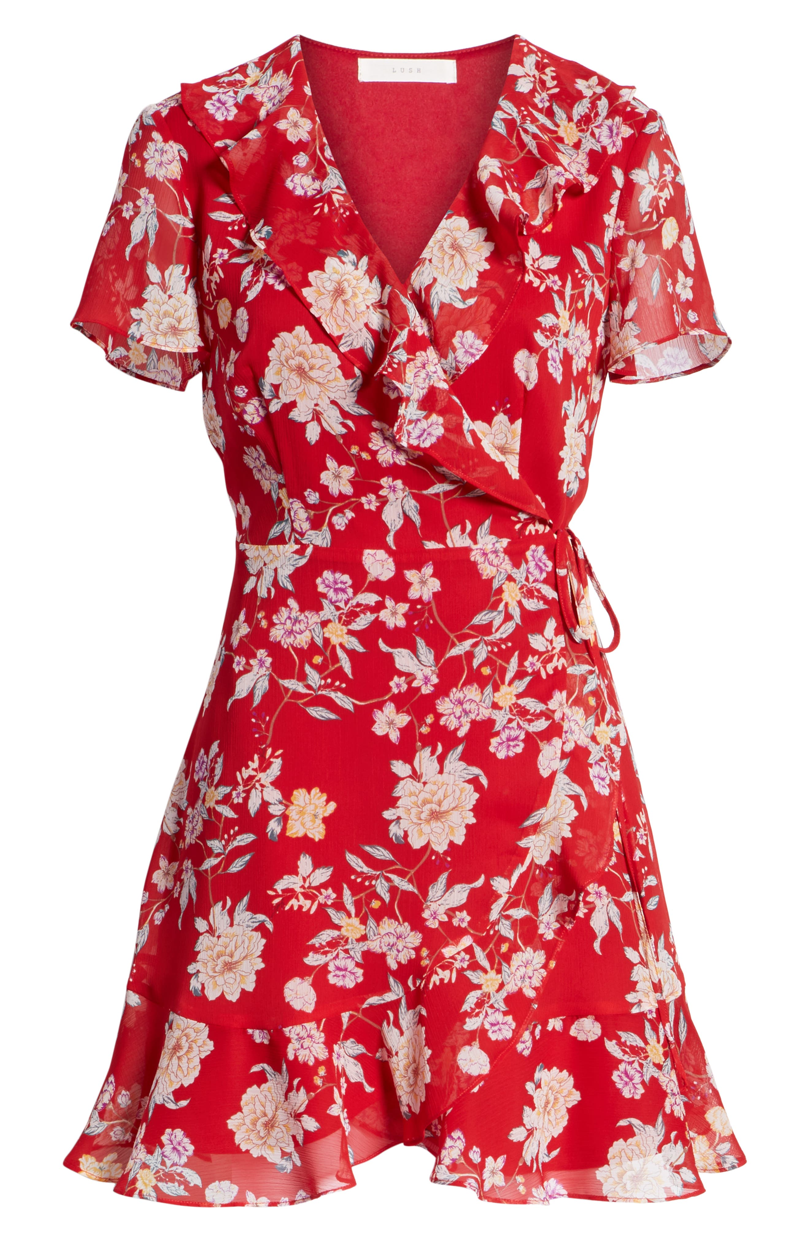 Colie Ruffle Wrap Dress,                             Alternate thumbnail 6, color,                             Red Floral