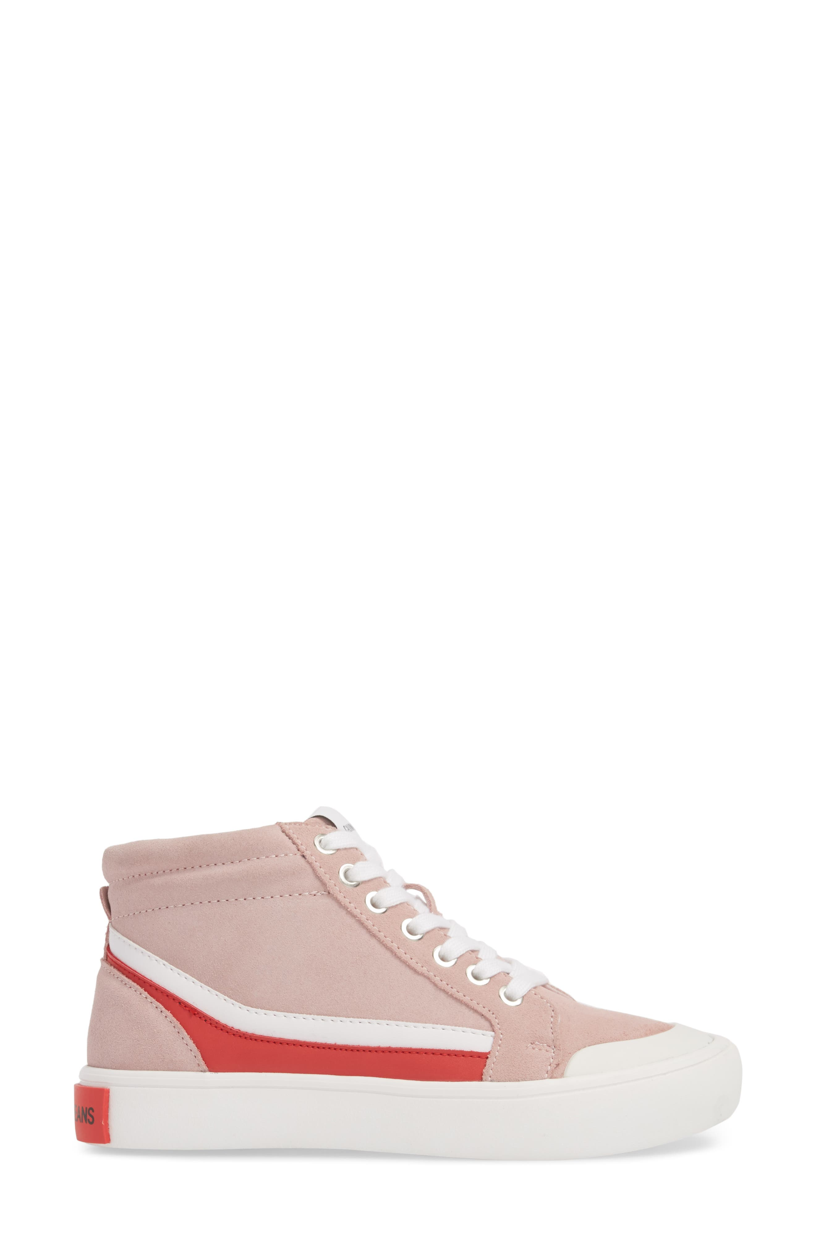 High Top Sneaker,                             Alternate thumbnail 3, color,                             Chintz Rose/ White/ Tomato