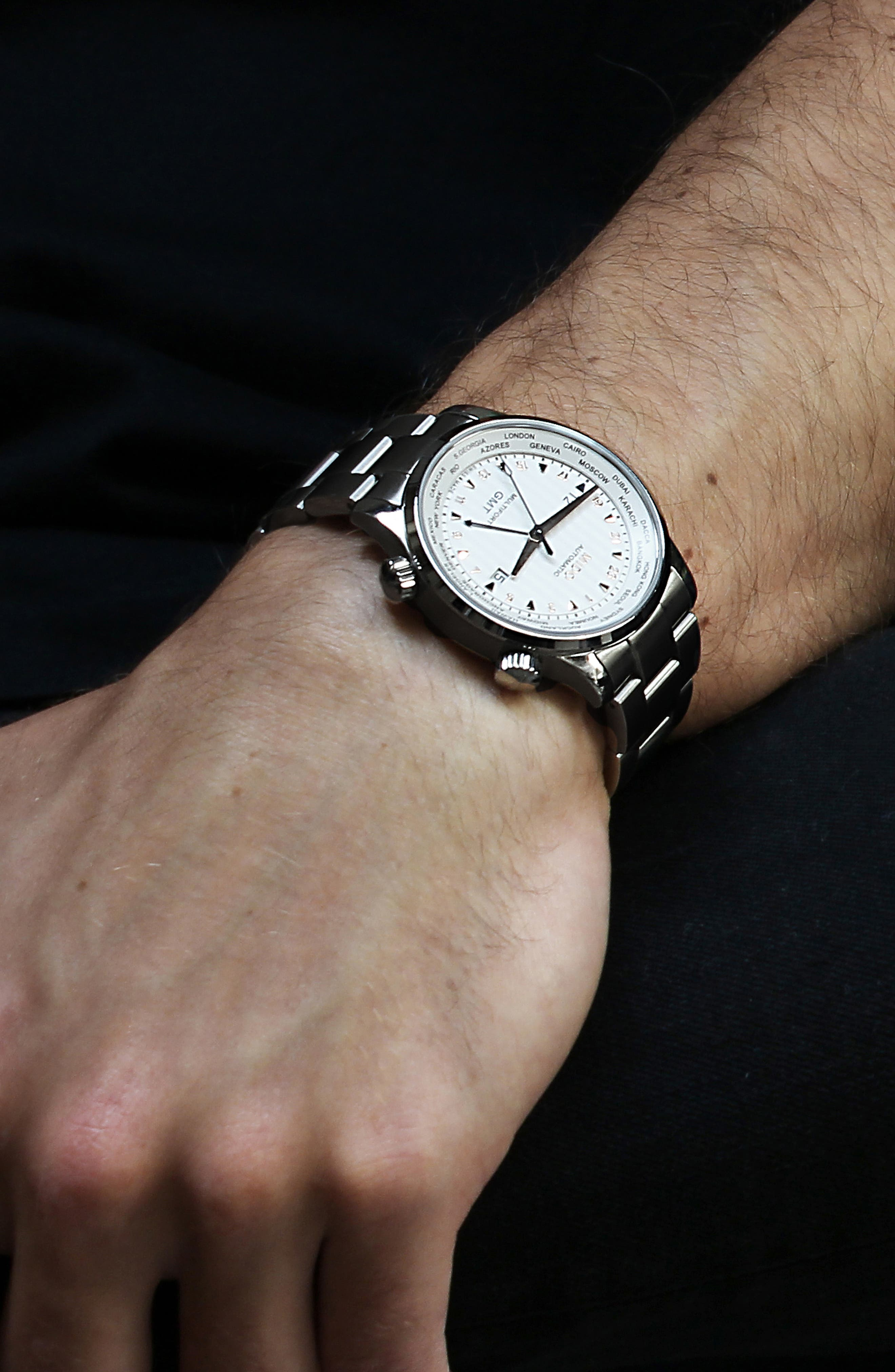 Multifort Automatic Bracelet Watch,                             Alternate thumbnail 4, color,                             Silver