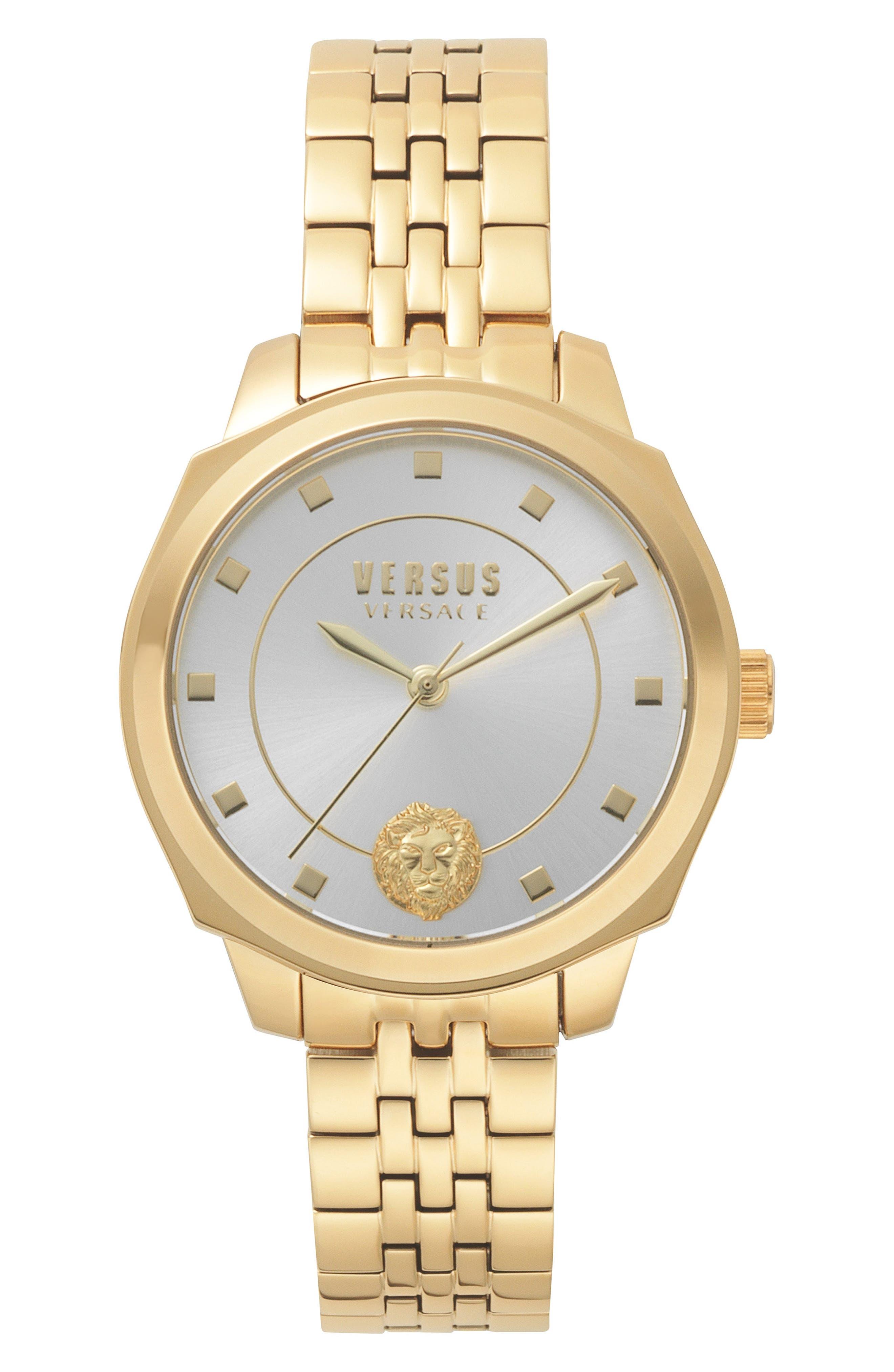 VERSUS by Versace Chelsea Bracelet Watch, 34mm,                             Main thumbnail 1, color,                             Gold/ Silver/ Gold