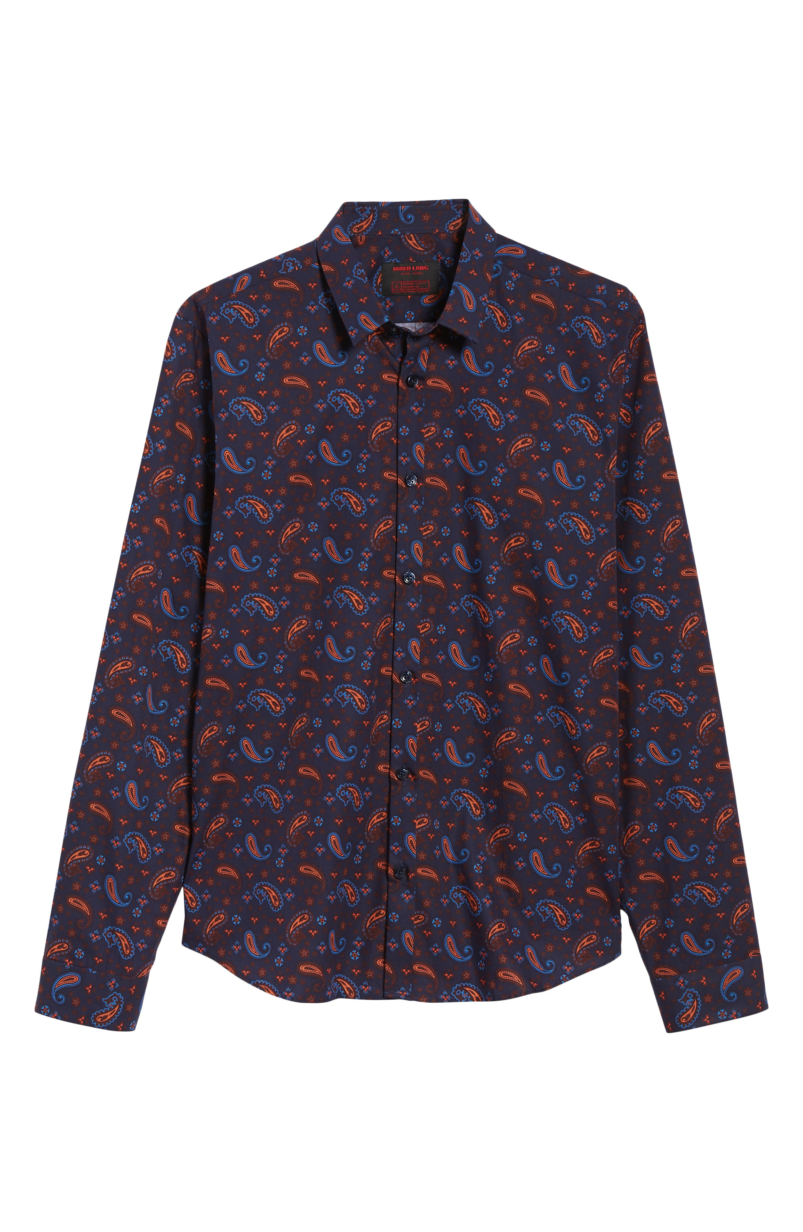 Paisley Print Sport Shirt,                             Alternate thumbnail 5, color,                             Navy Orange Print