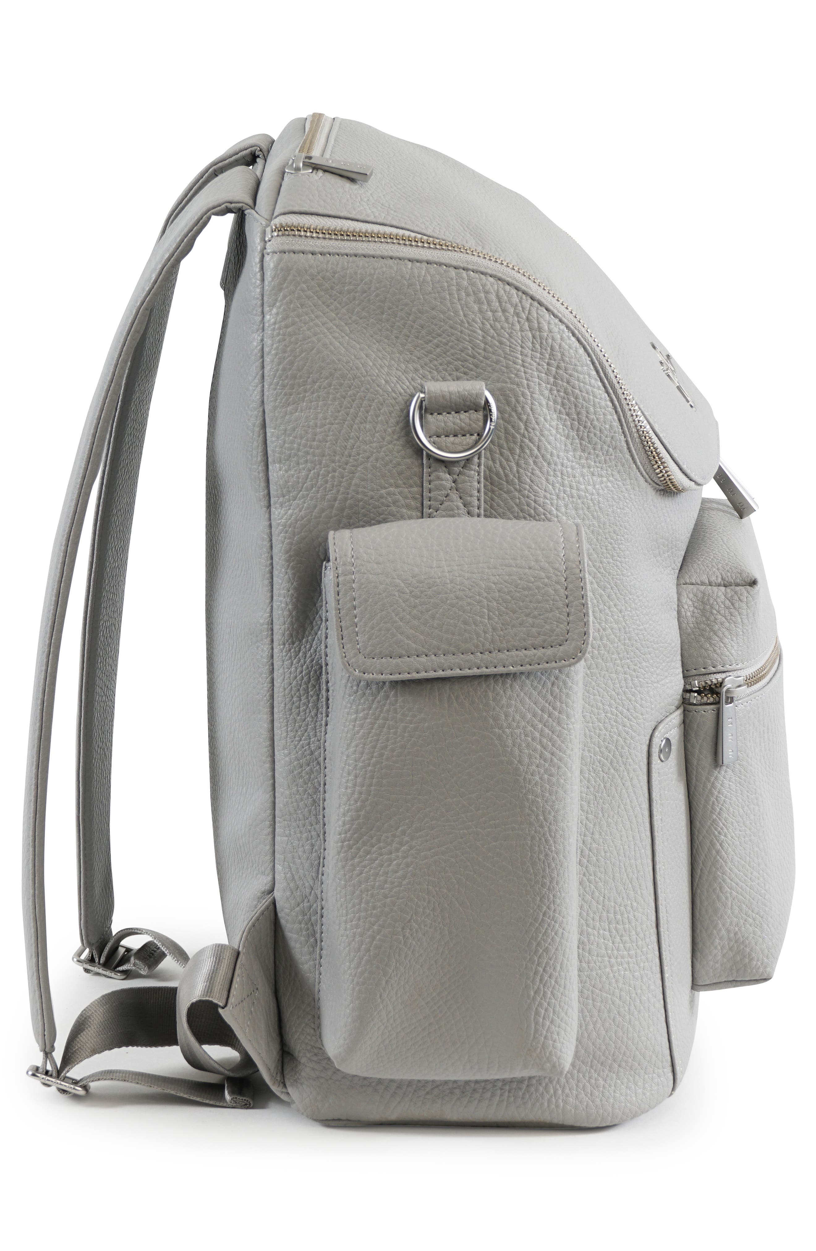 Ever Collection Forever Faux Leather Diaper Backpack,                             Alternate thumbnail 4, color,                             Stone