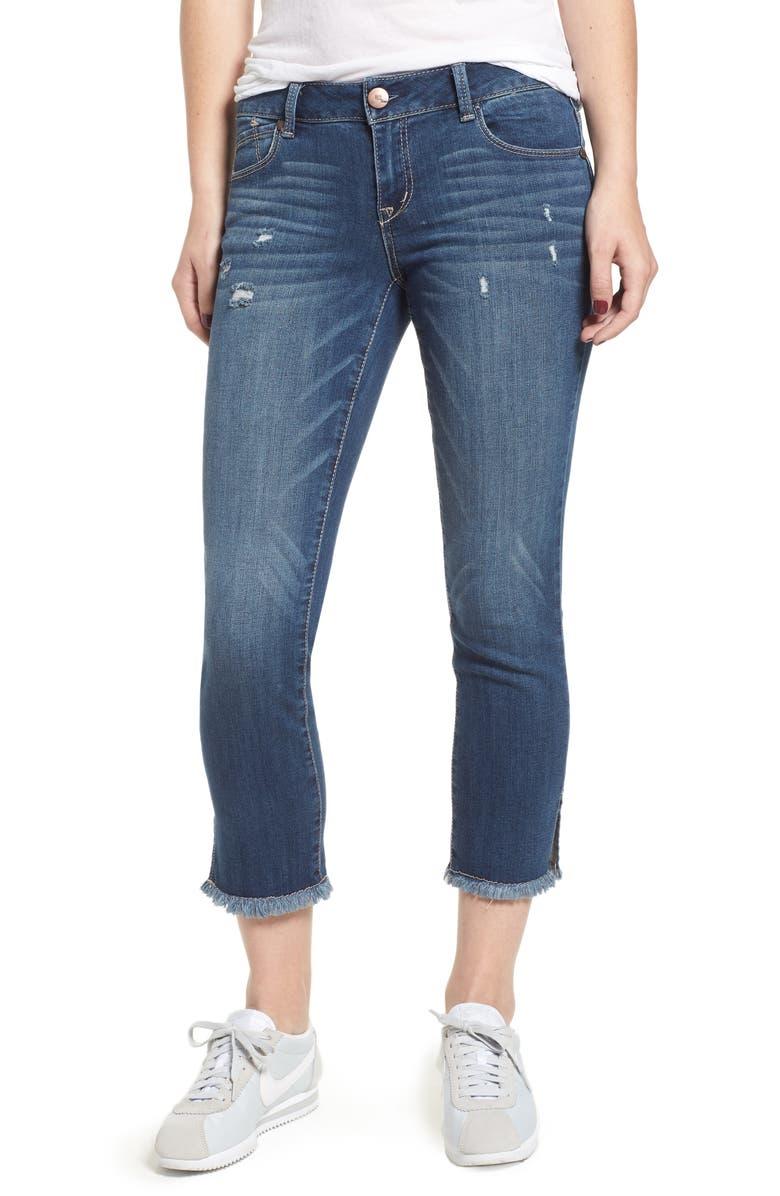 Side Slit Fray Hem Skinny Jeans