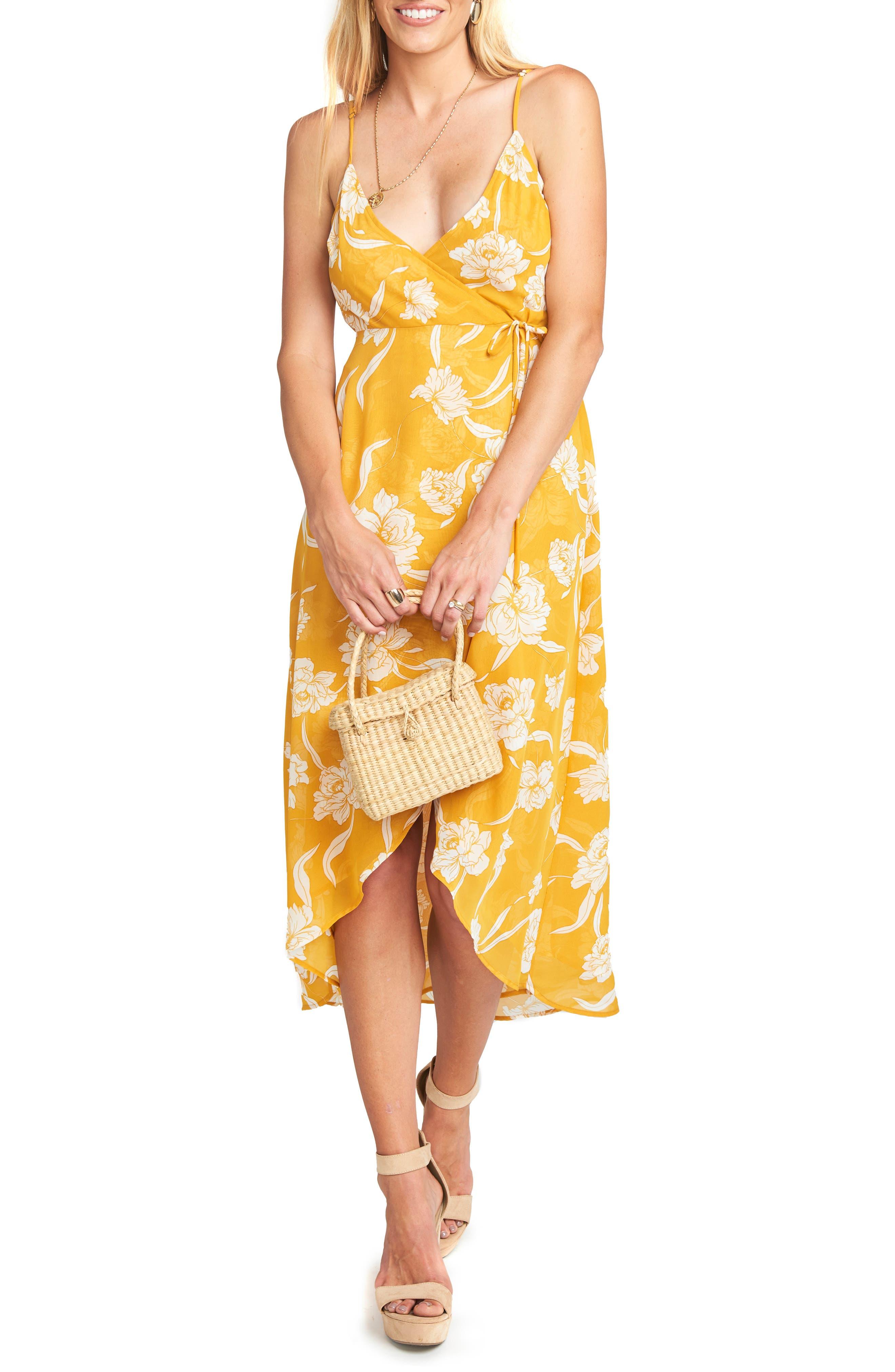 Meghan Wrap Dress,                             Main thumbnail 1, color,                             Bloom Gold