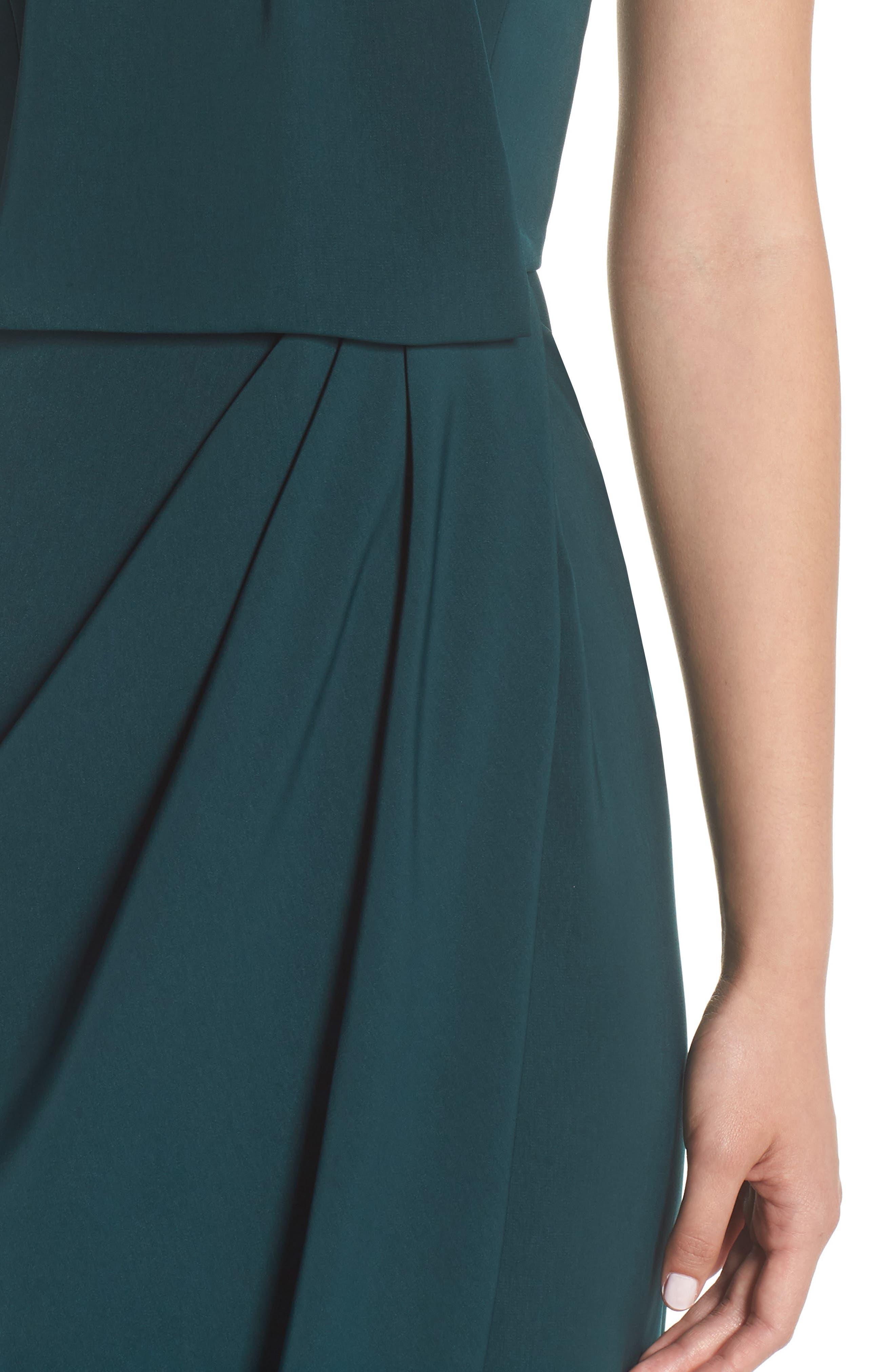 Knotted Tulip Hem Midi Dress,                             Alternate thumbnail 4, color,                             Seaweed