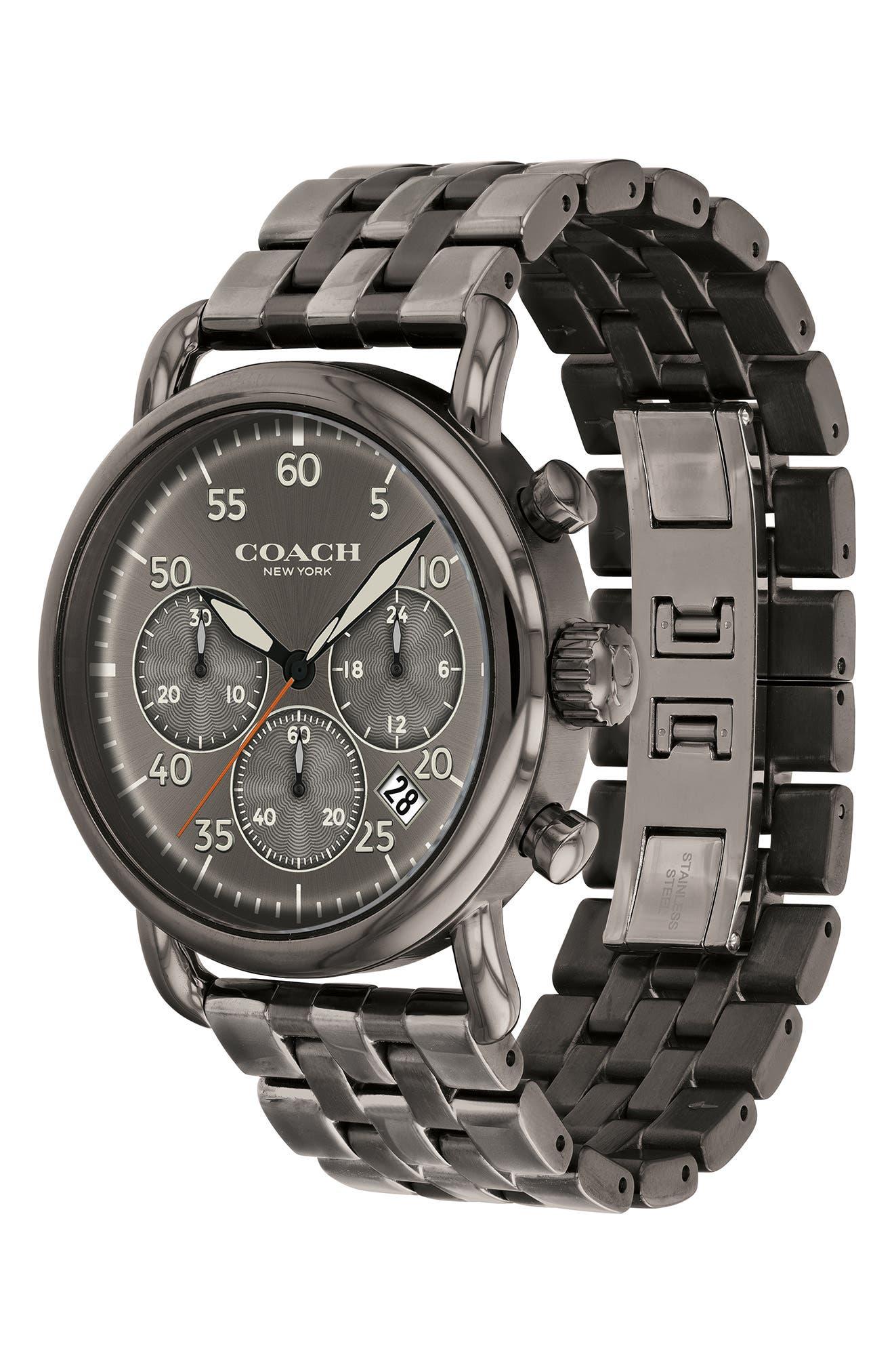 Delancey Sport Chronograph Bracelet Watch, 42mm,                             Alternate thumbnail 3, color,                             Gunmetal