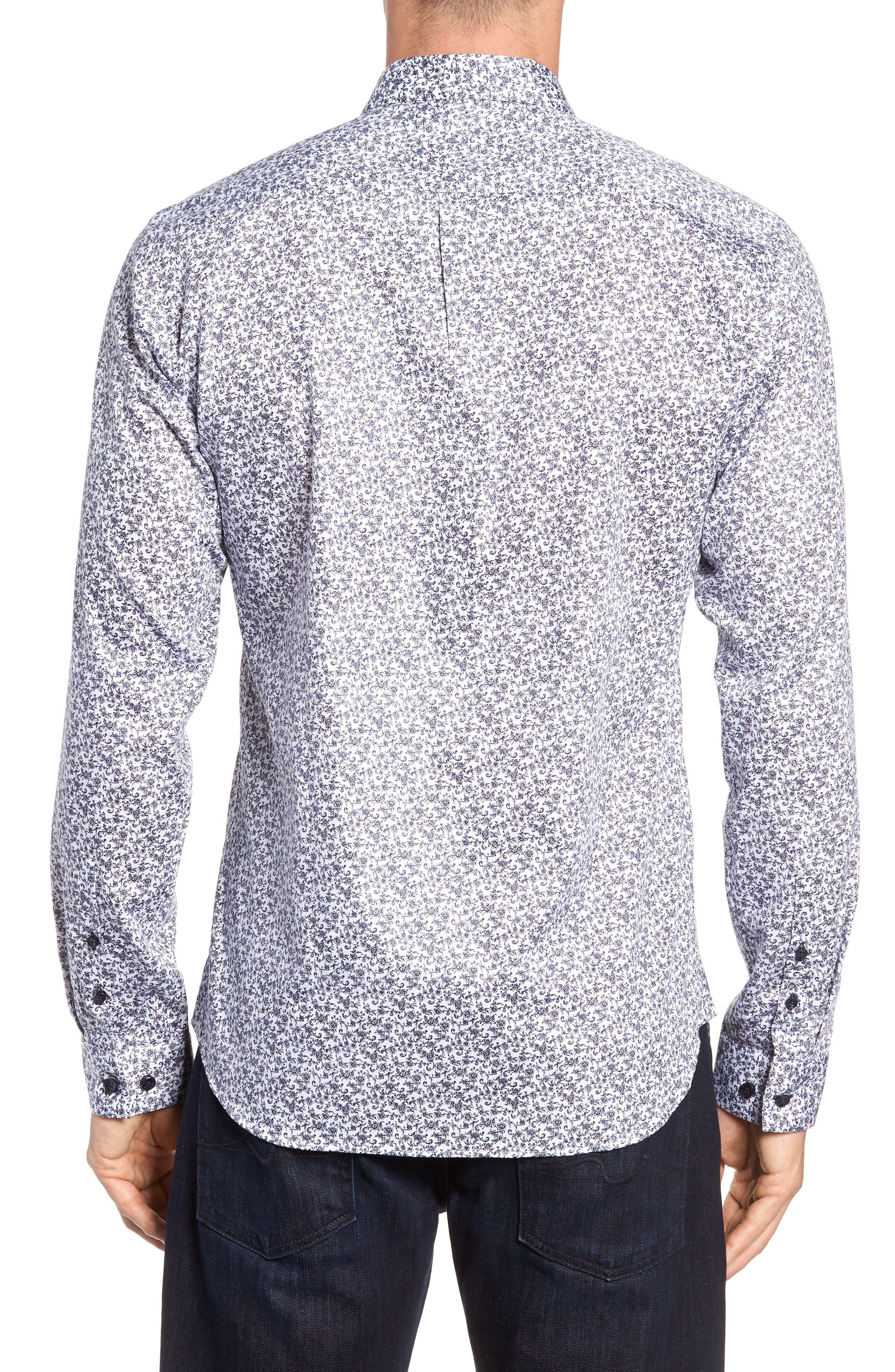 Floral Sport Shirt,                             Alternate thumbnail 4, color,                             White Navy Print