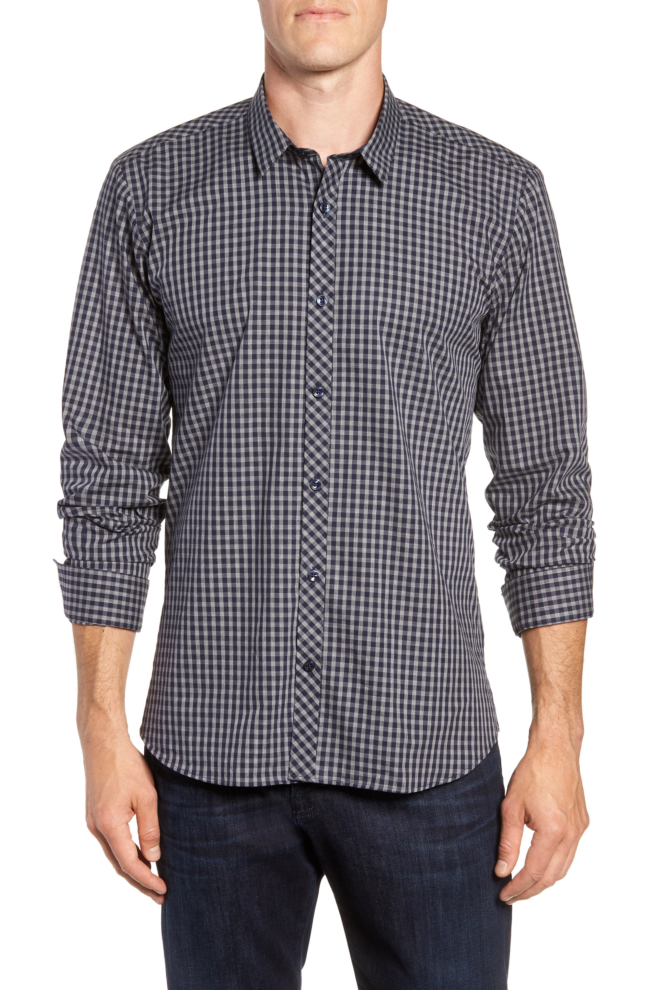 Trim Fit Sport Shirt,                         Main,                         color, Navy Grey Check