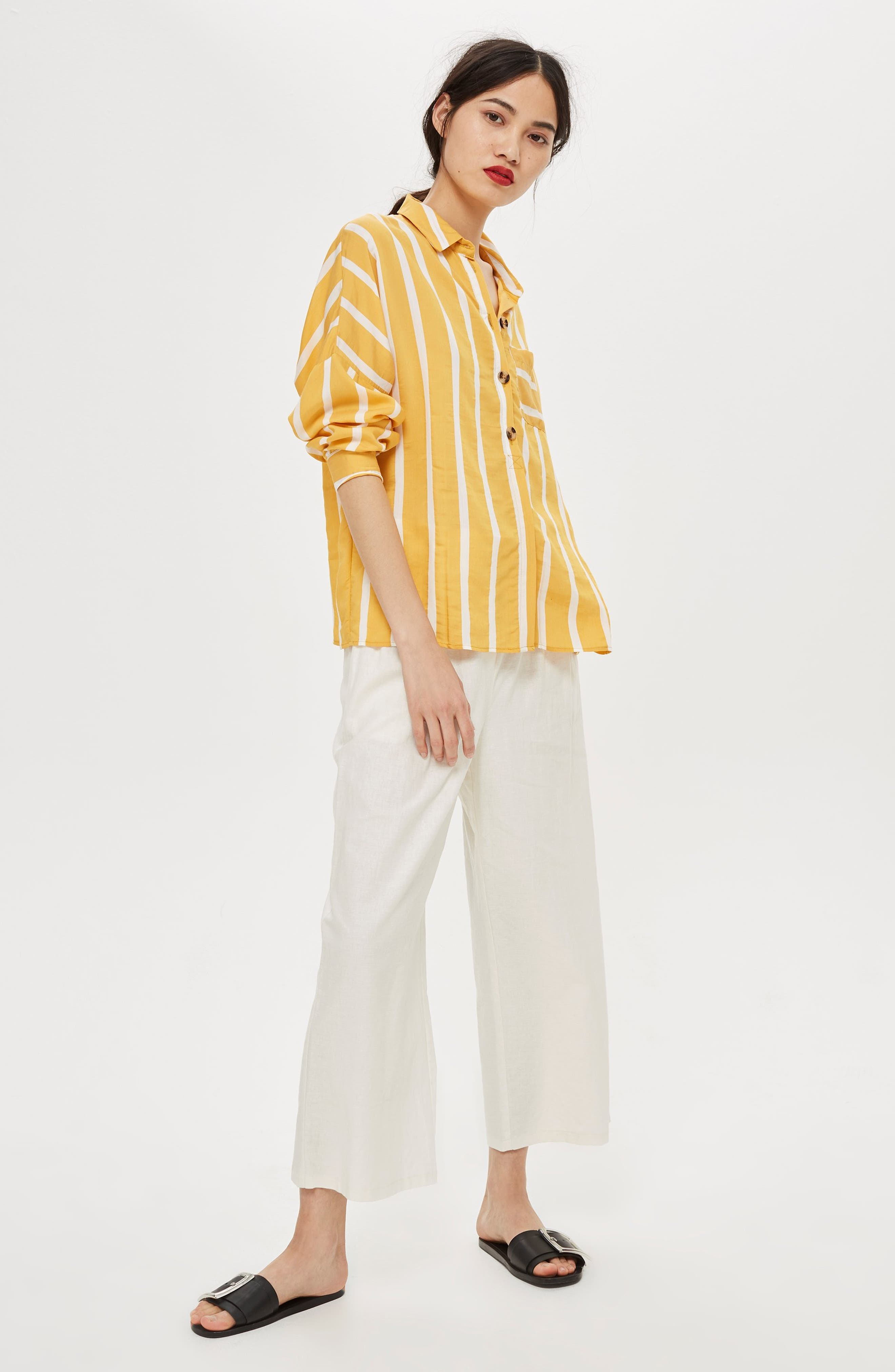 Wide Stripe Shirt,                             Alternate thumbnail 2, color,                             Yellow Multi
