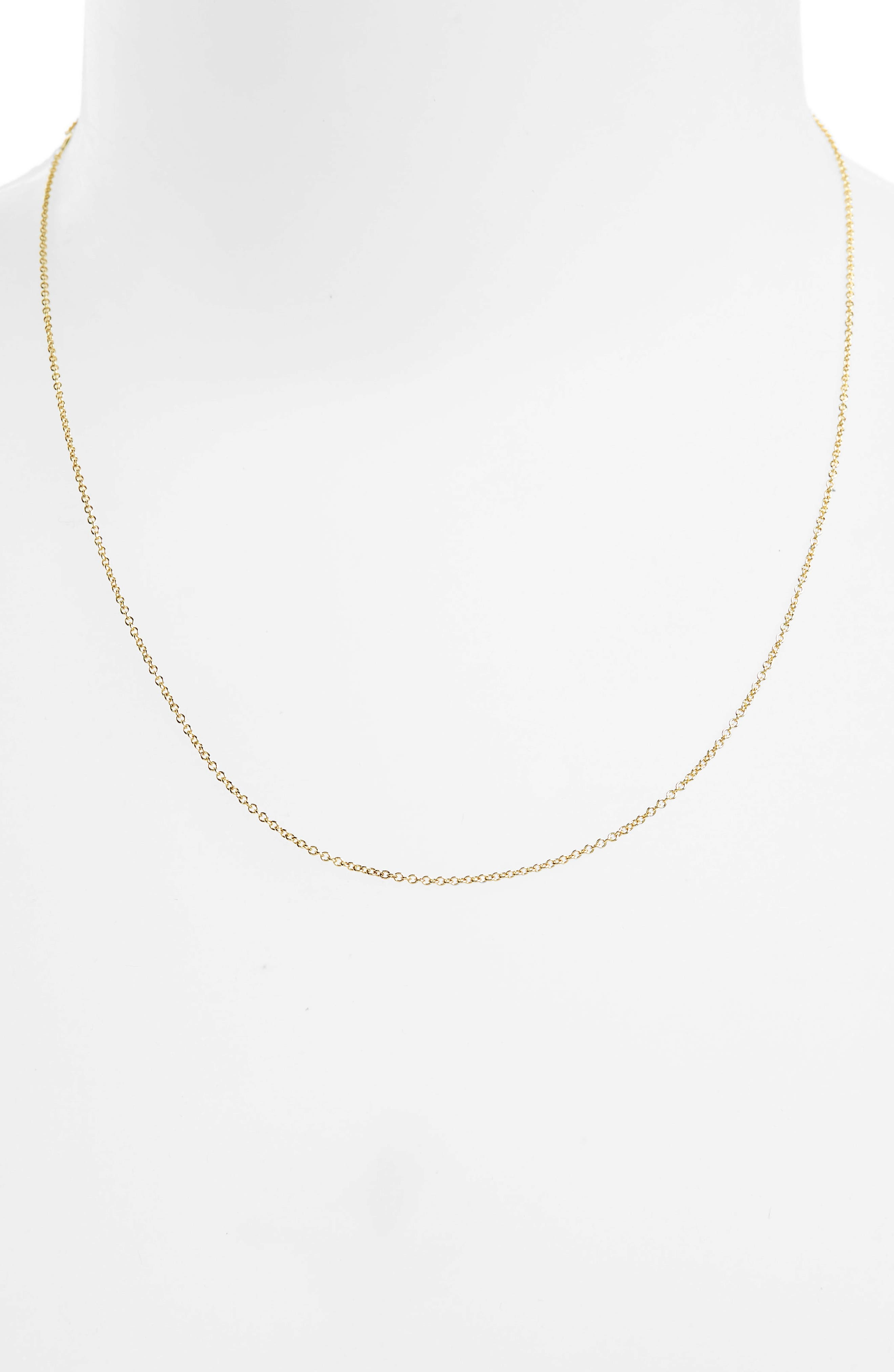 14K Gold Rolo Chain Necklace,                             Alternate thumbnail 2, color,                             Yellow Gold