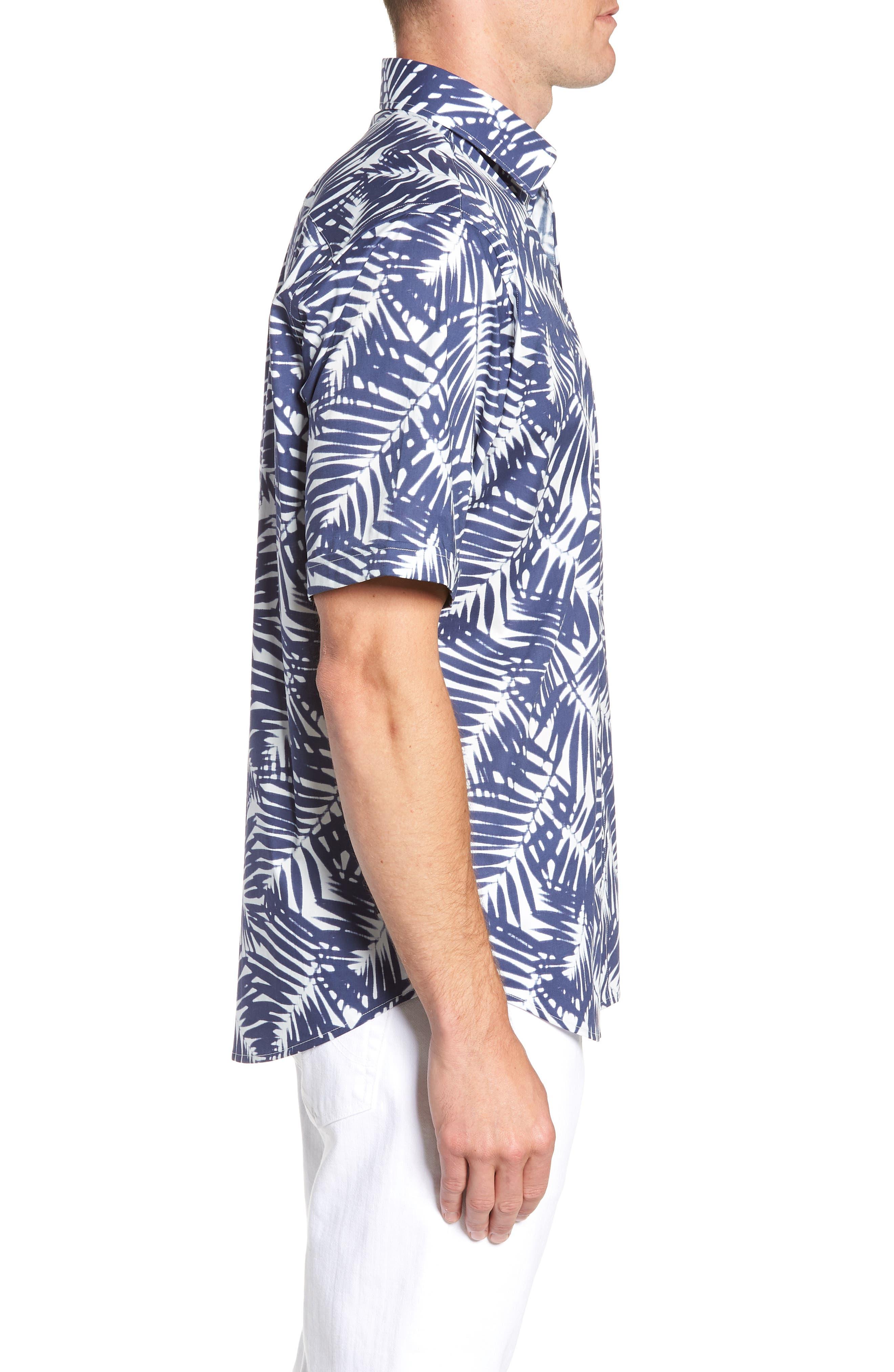 Indigo Palms Classic Fit Sport Shirt,                             Alternate thumbnail 3, color,                             Navy