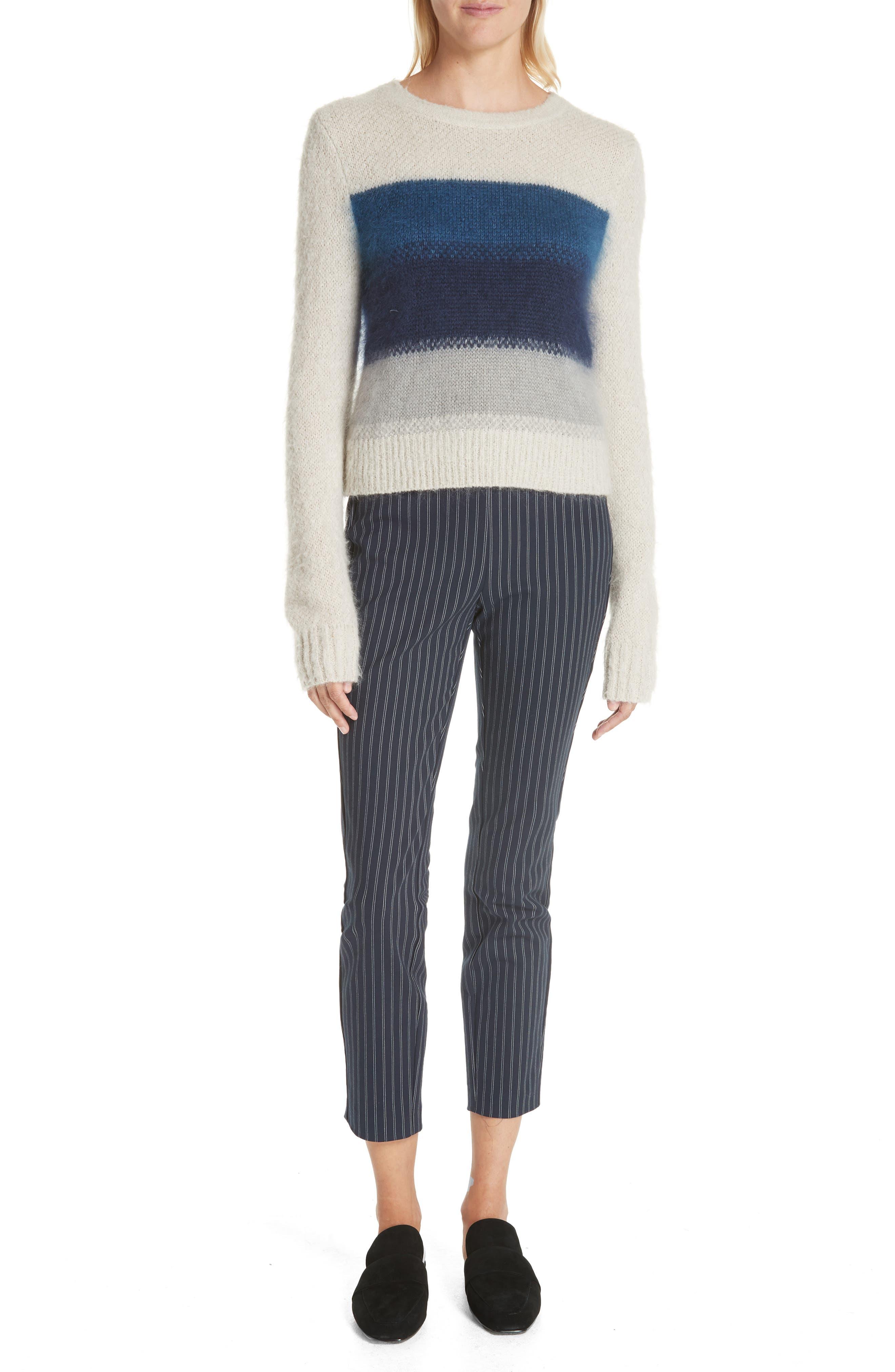 Simone Pinstripe Pants,                             Alternate thumbnail 3, color,                             Navy/ White