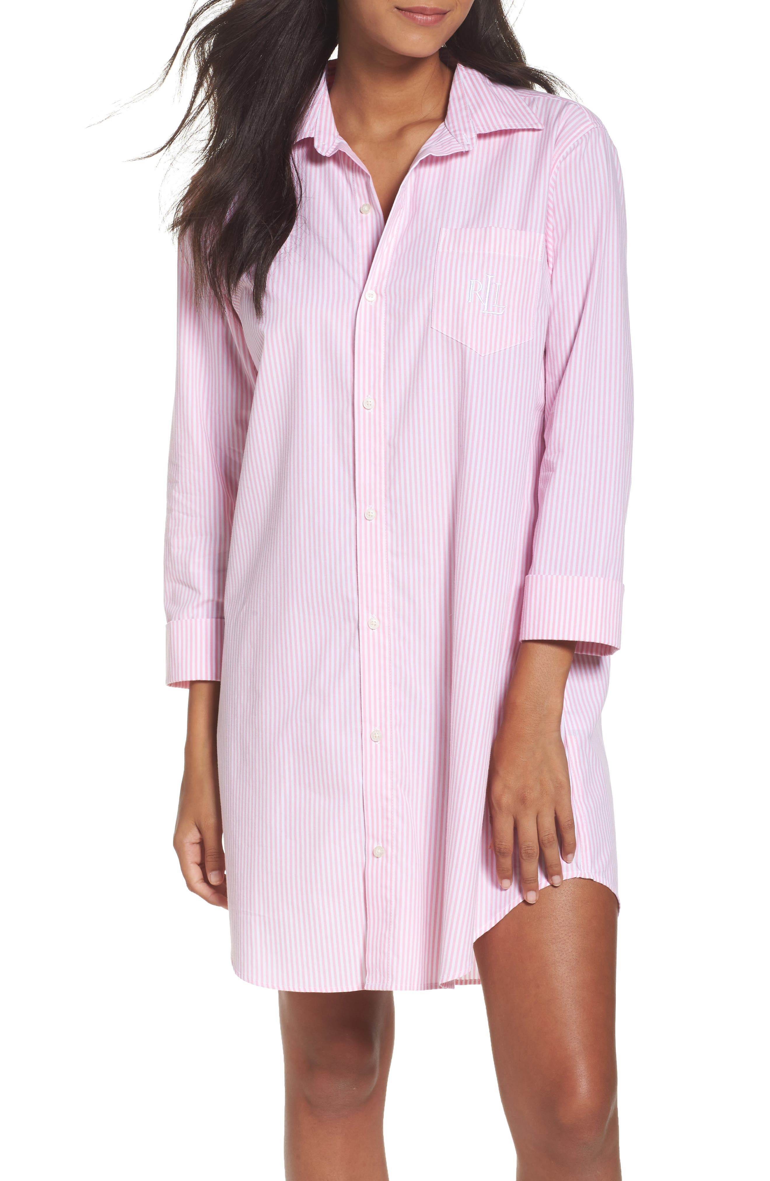 Cotton Poplin Sleep Shirt,                         Main,                         color, Stripe Lagoon Pink/ White
