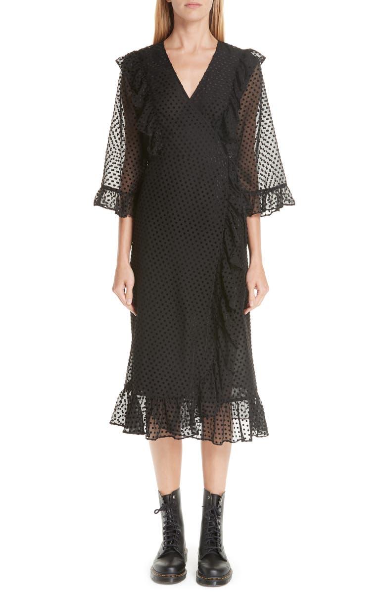 Swiss Dot Tulle Wrap Dress