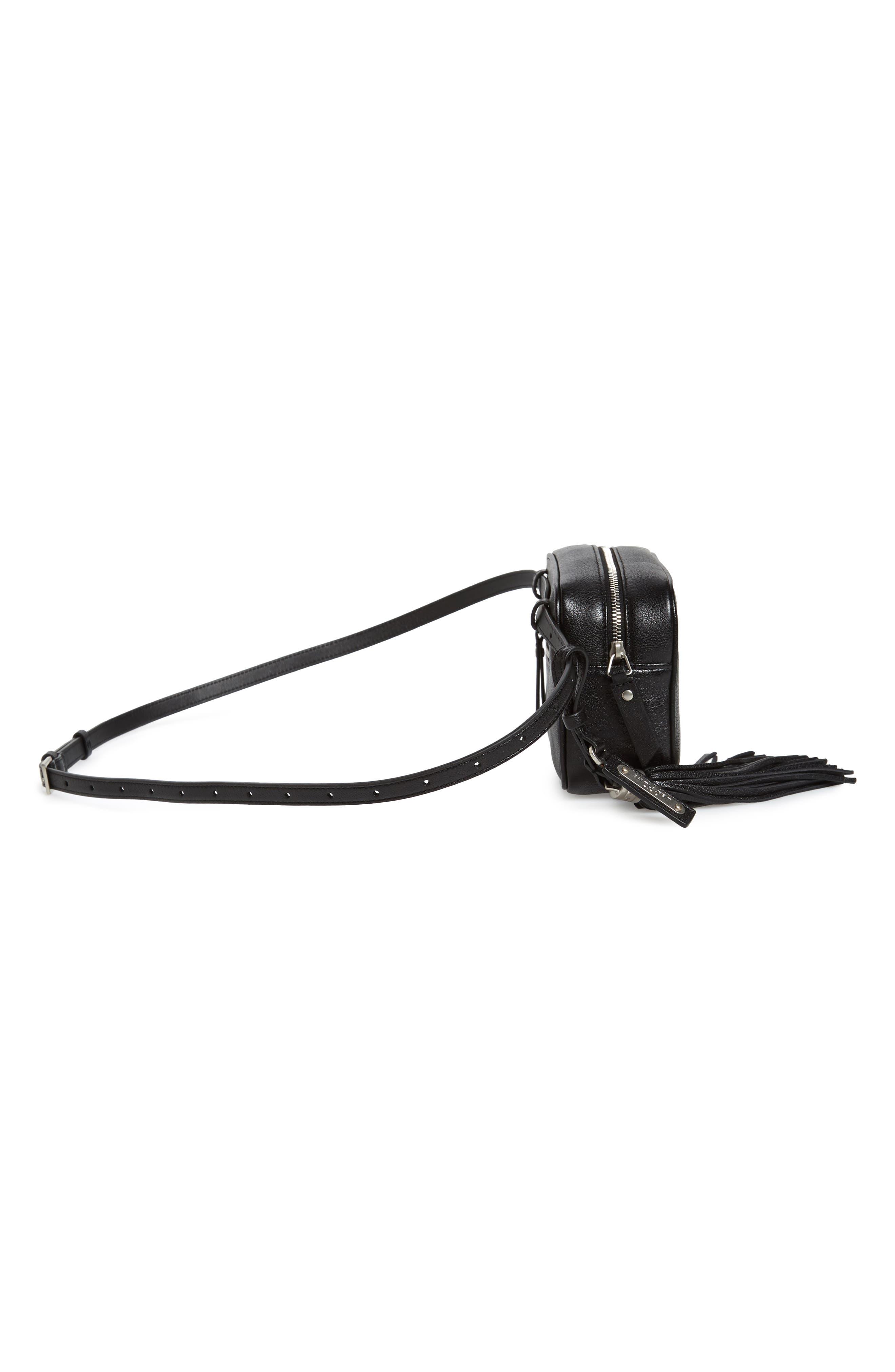 Loulou Tassel Leather Belt Bag,                             Alternate thumbnail 6, color,                             Noir