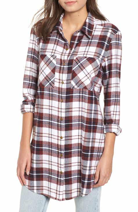 plaid flannel tunic regular plus size