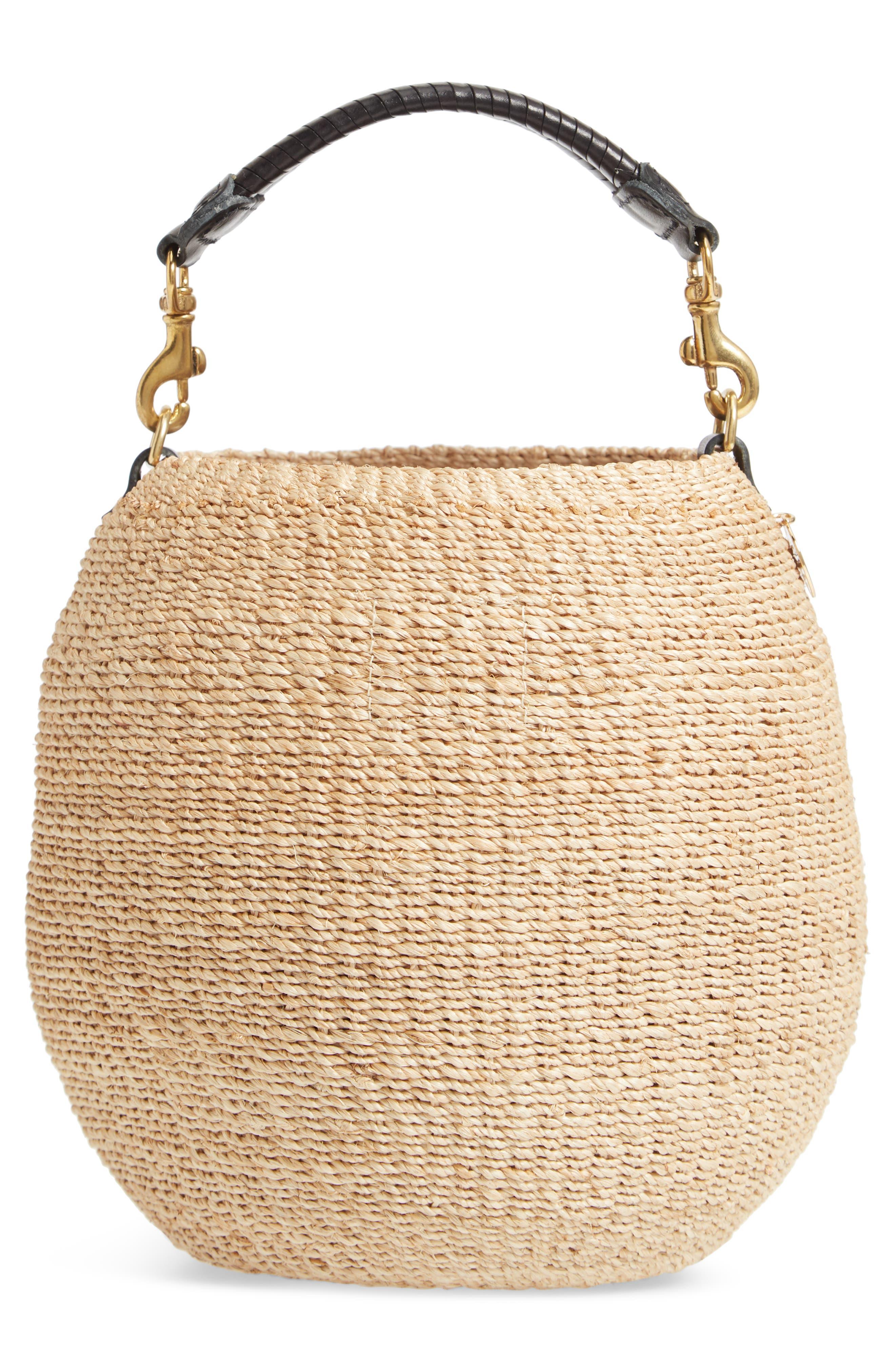 Pot de Miel Top Handle Straw Basket Bag,                             Alternate thumbnail 5, color,                             Cream
