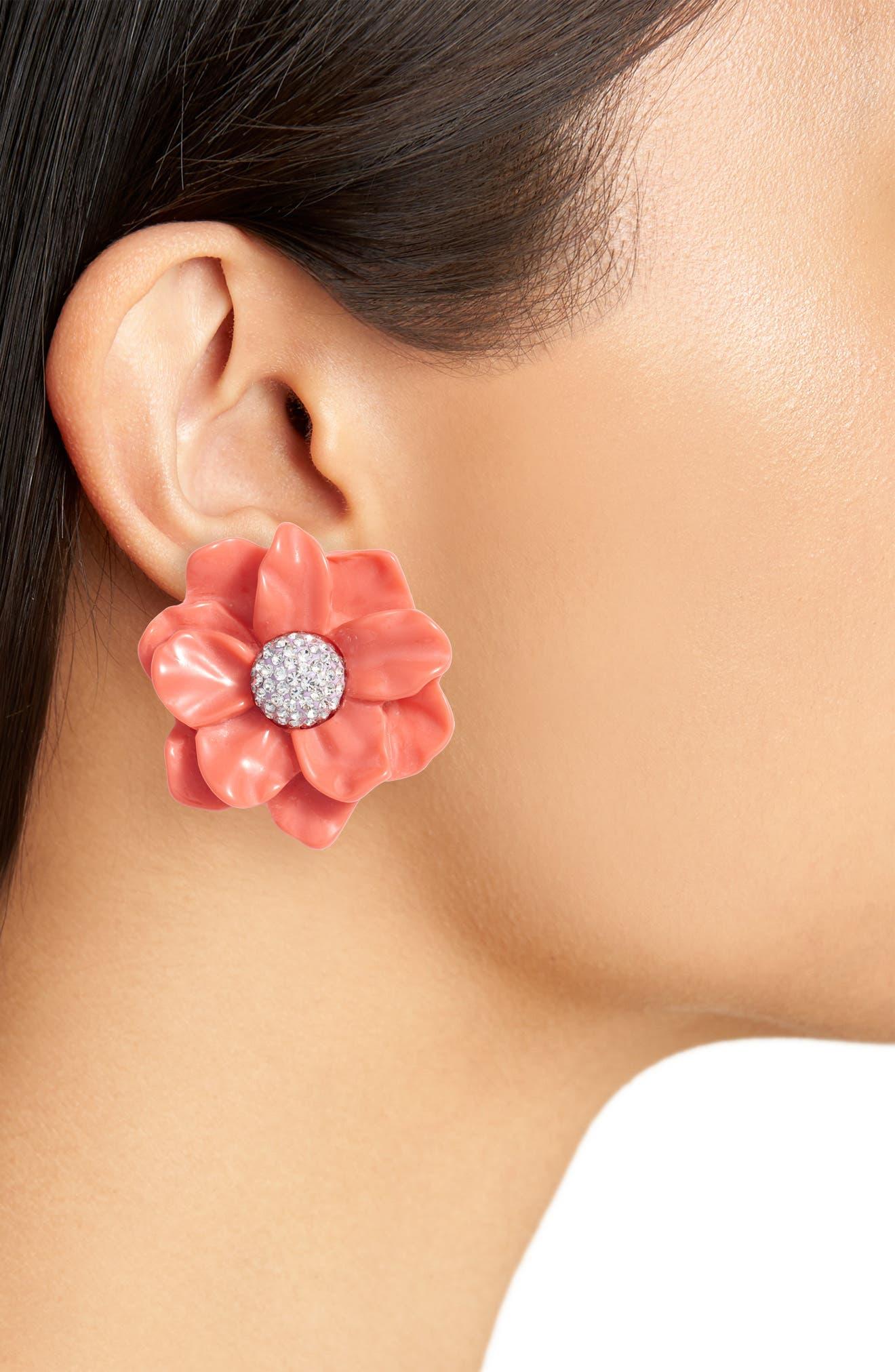 Oversized Gardenia Stud Earrings,                             Alternate thumbnail 2, color,                             Poppy Pink