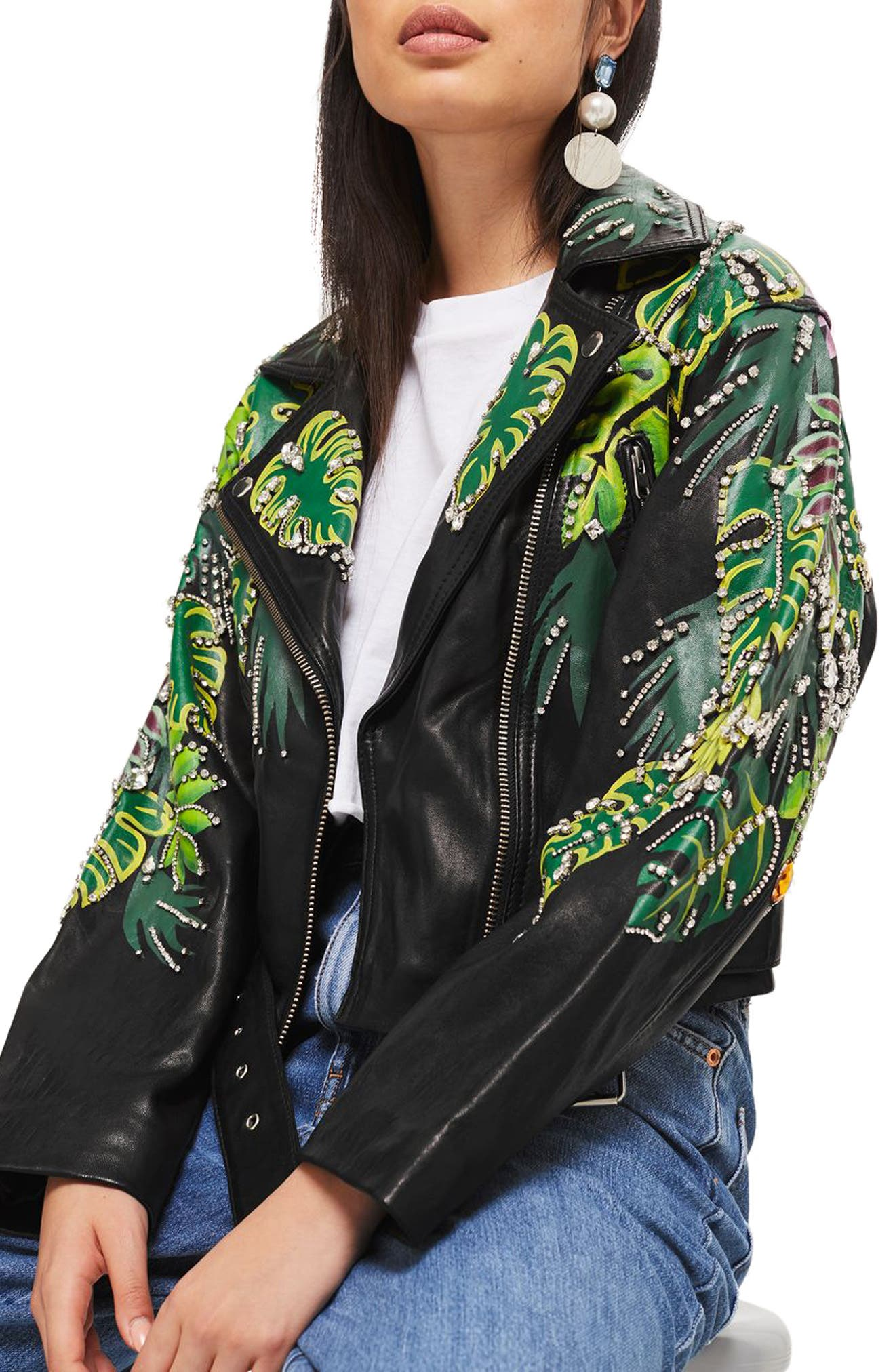 Jungle Embellished Leather Moto Jacket,                             Main thumbnail 1, color,                             Black Multi