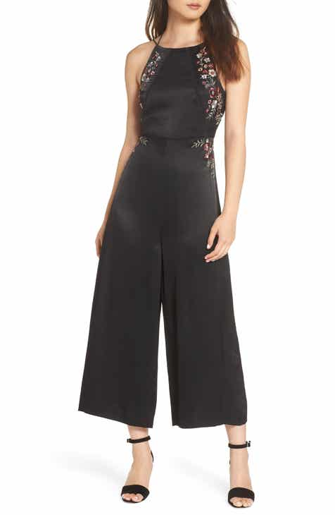 Ever New Embroidered Satin Jumpsuit