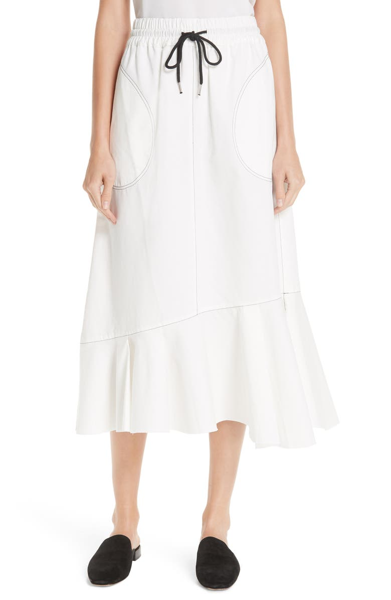 Bonnie Drill Asymmetrical Hem Skirt