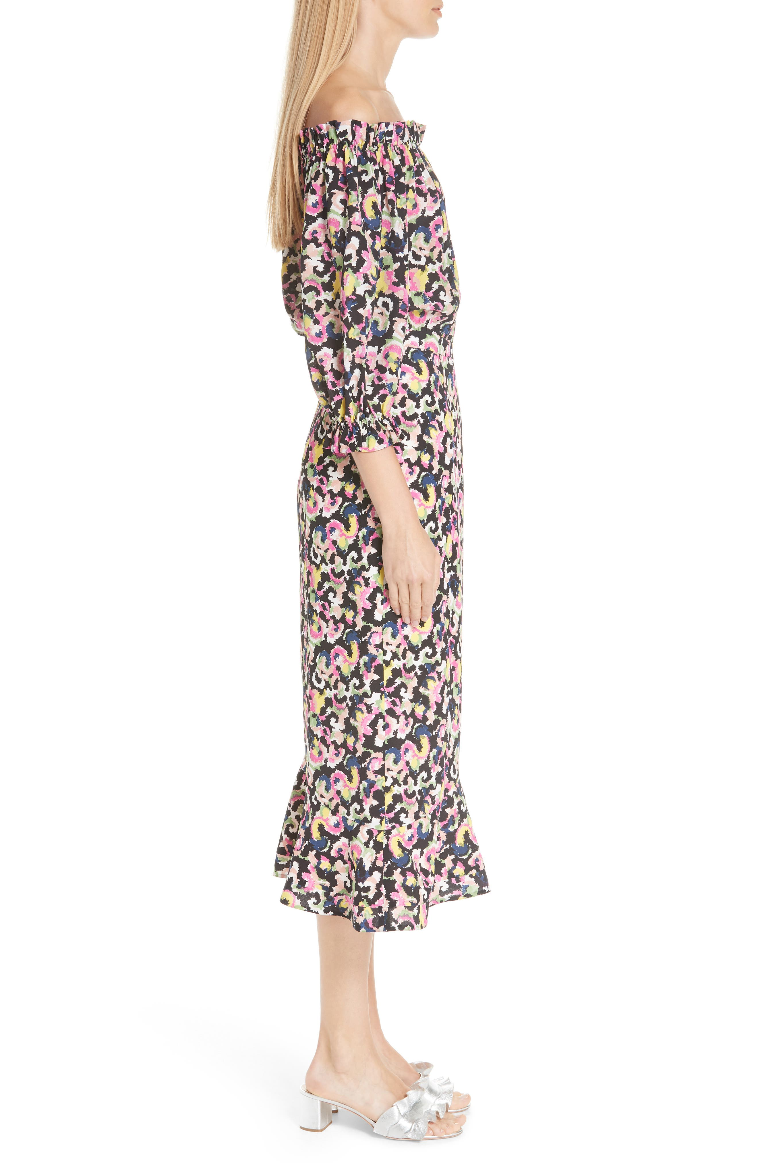 Grace Print Silk Off the Shoulder Dress,                             Alternate thumbnail 3, color,                             Hothouse Mirage
