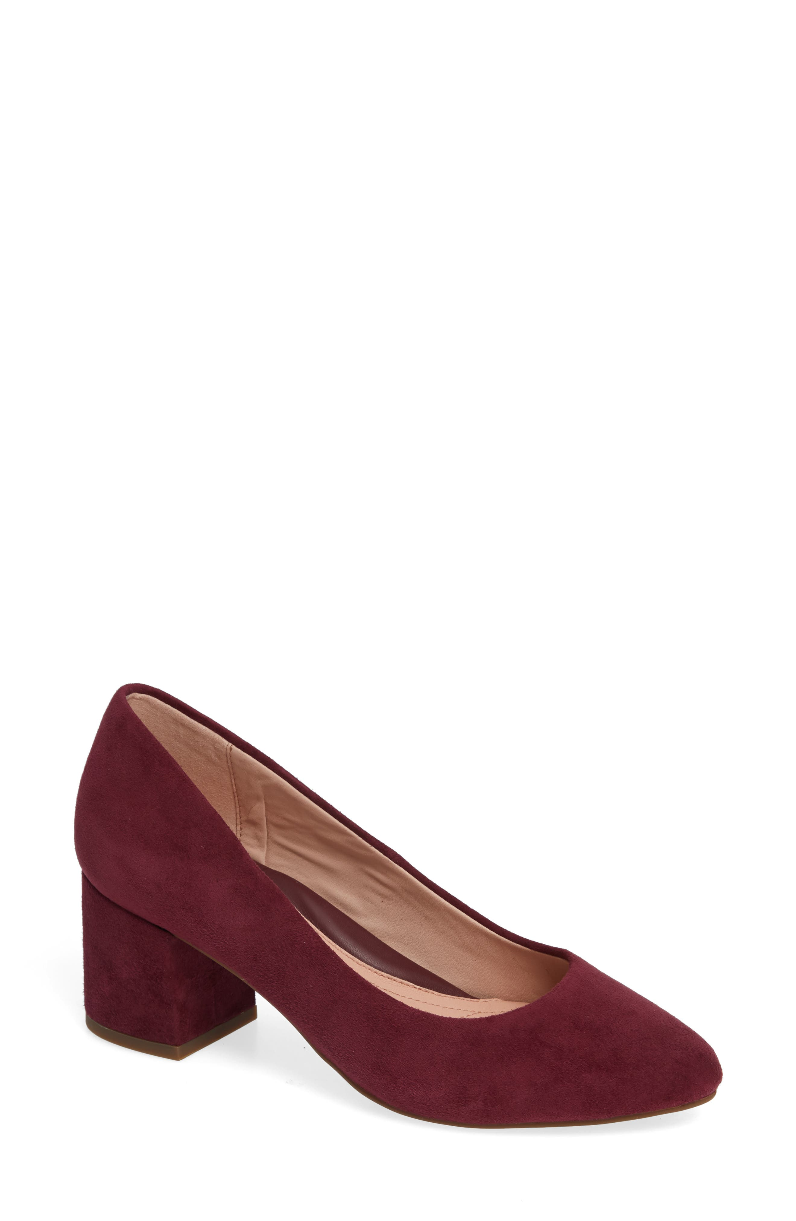 Rochelle Block Heel Pump,                             Main thumbnail 1, color,                             Fig Suede