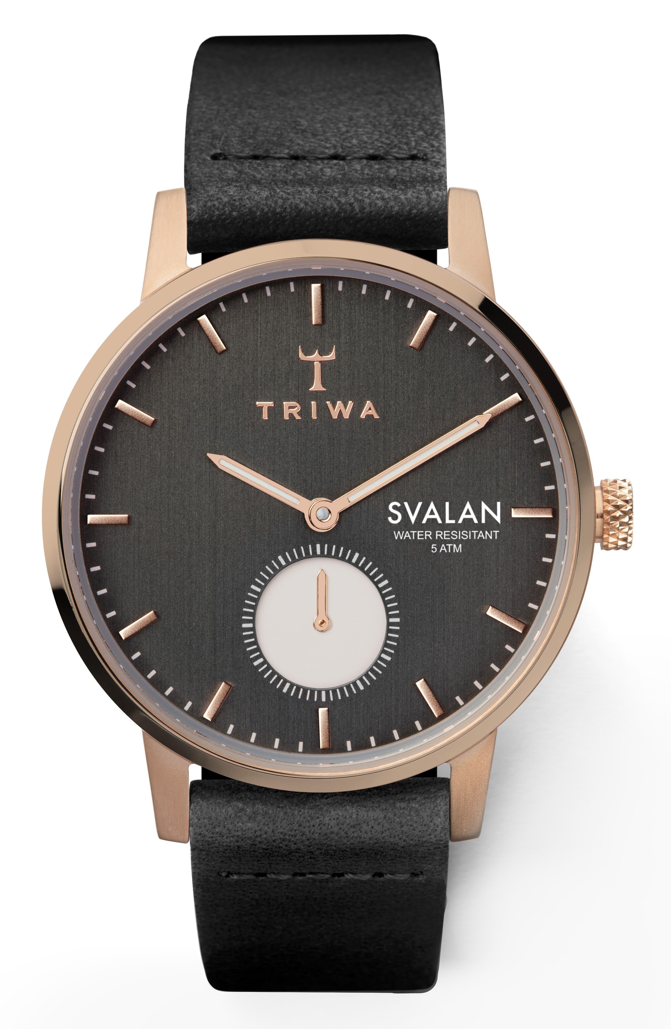 TRIWA Noir Svalan Leather Strap Watch, 34Mm in Black/ Rose Gold