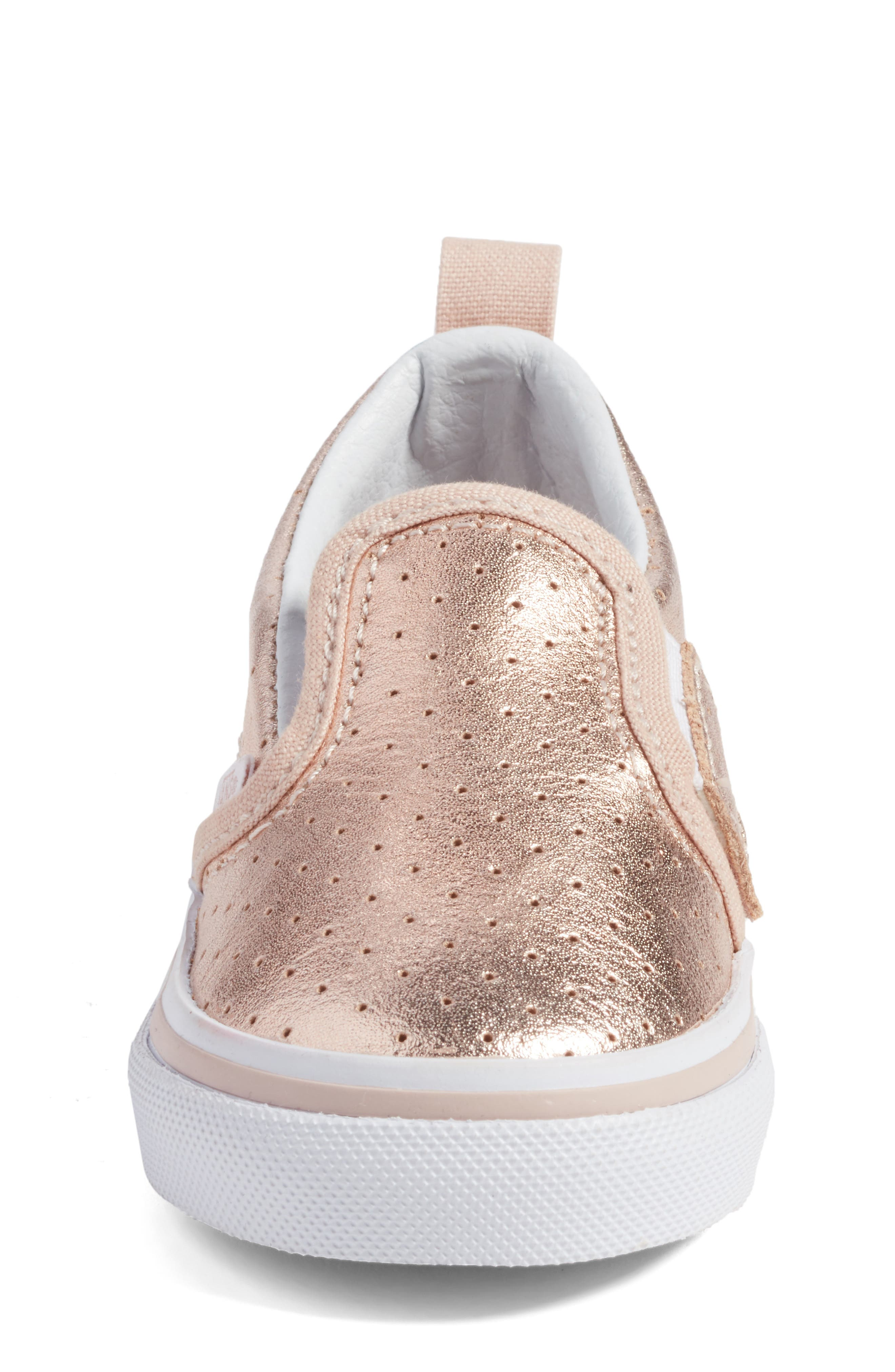 'Classic' Slip-On Sneaker,                             Alternate thumbnail 4, color,                             Rose Gold Perf Leather