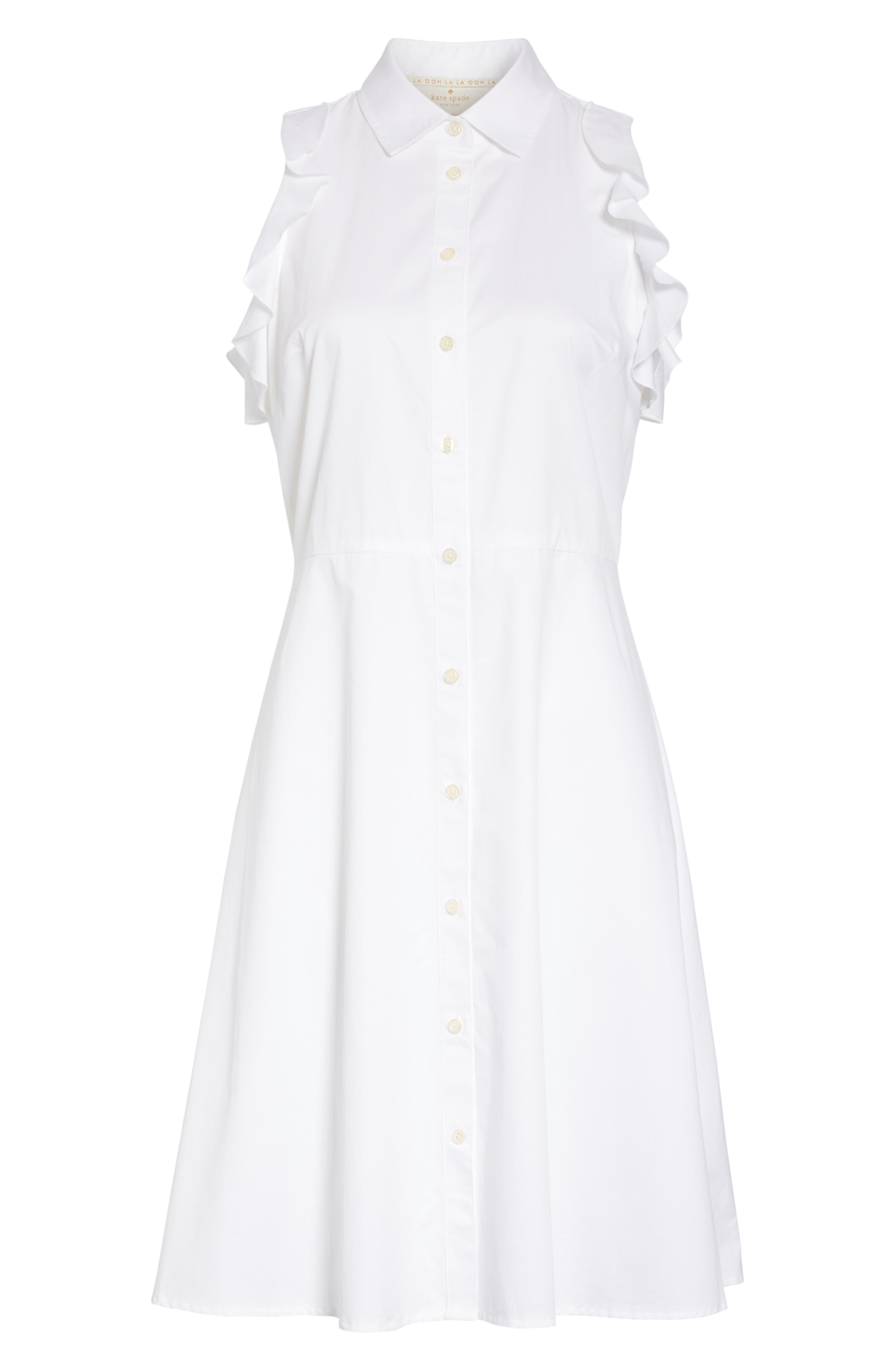 ruffle cotton poplin dress,                             Alternate thumbnail 6, color,                             Fresh White